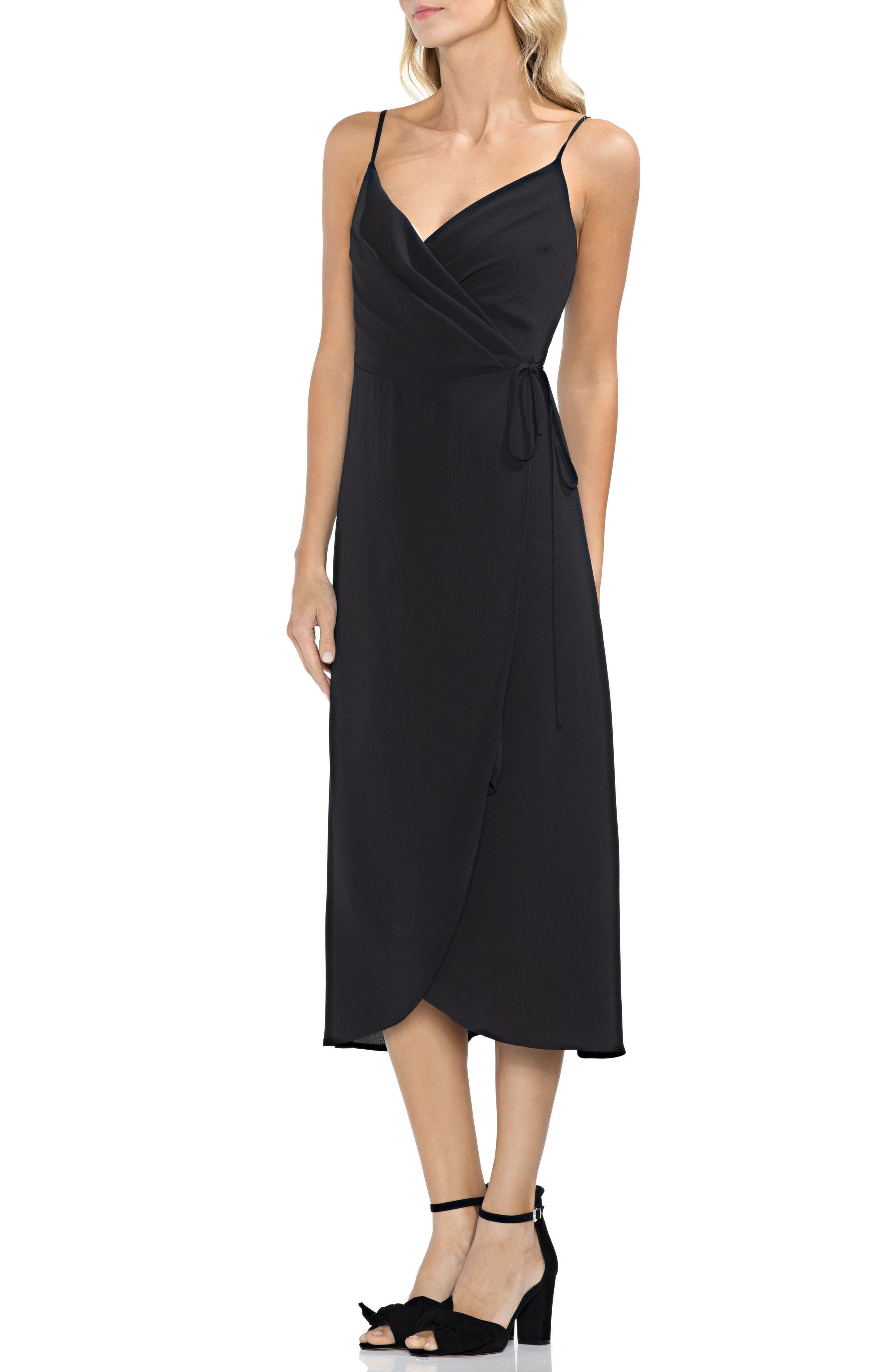 VINCE CAMUTO Soft Texture Faux Wrap Midi Dress, Main, color, 001