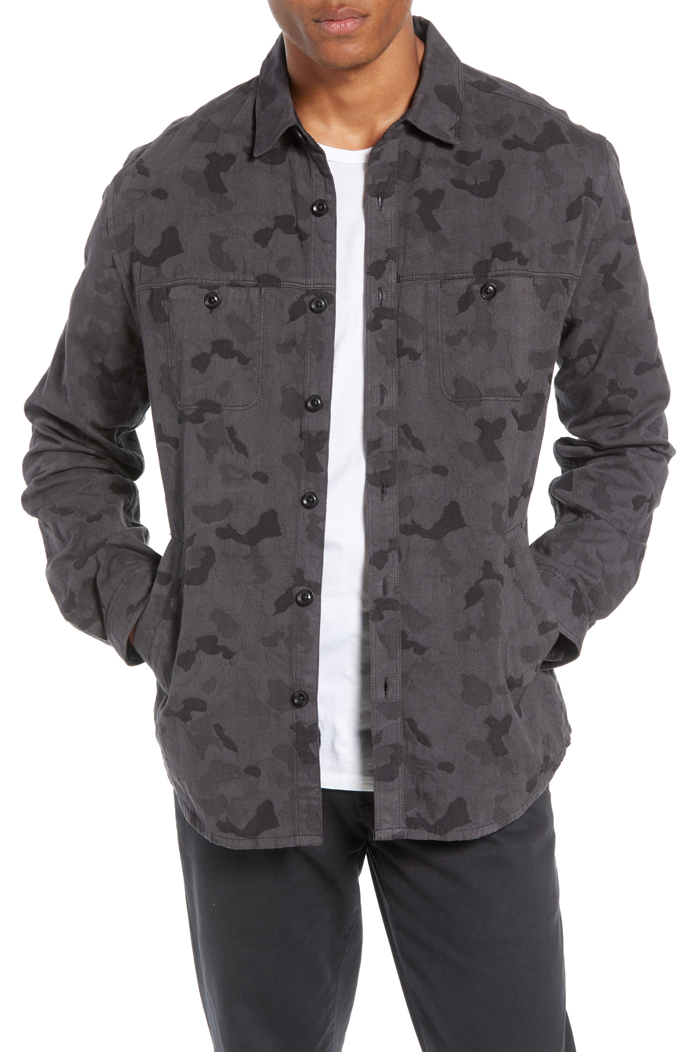 Camouflage Slim Cotton Jacquard Shirt Jacket,                             Main thumbnail 1, color,                             060