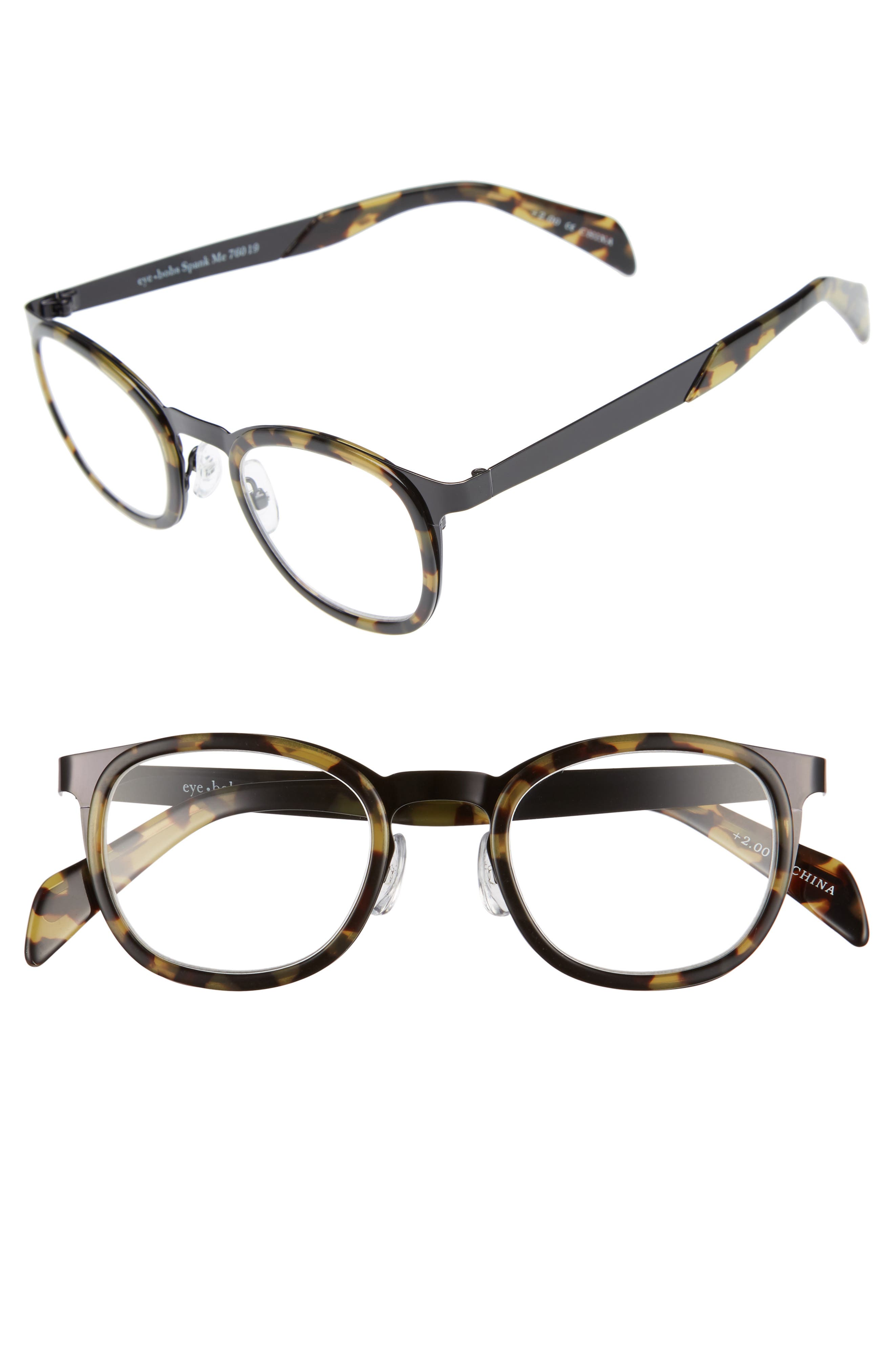 Spank Me 45mm Reading Glasses,                         Main,                         color, BLACK METAL WITH TORTOISE