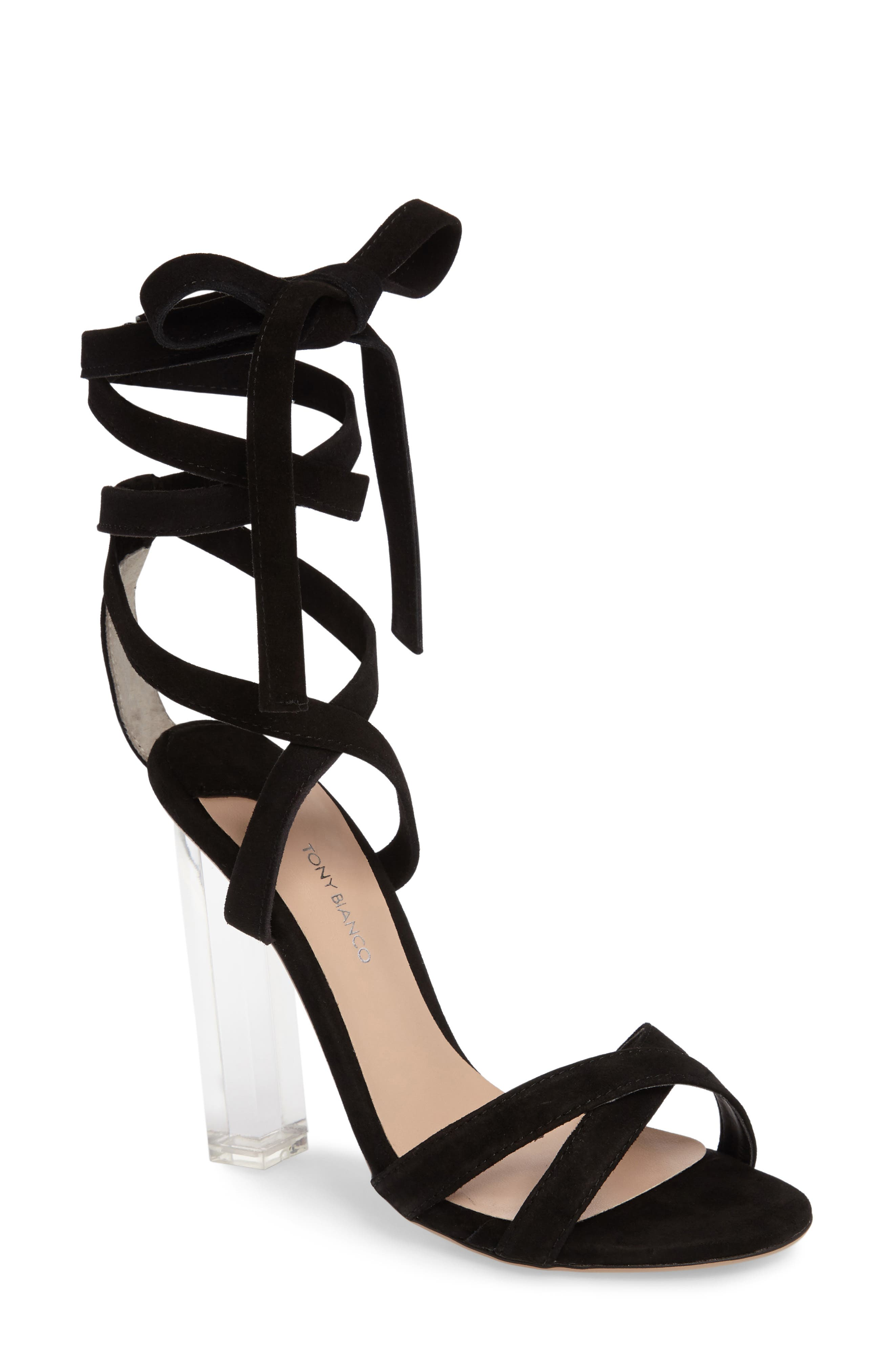 Komma Translucent Heel Sandal,                         Main,                         color, 001