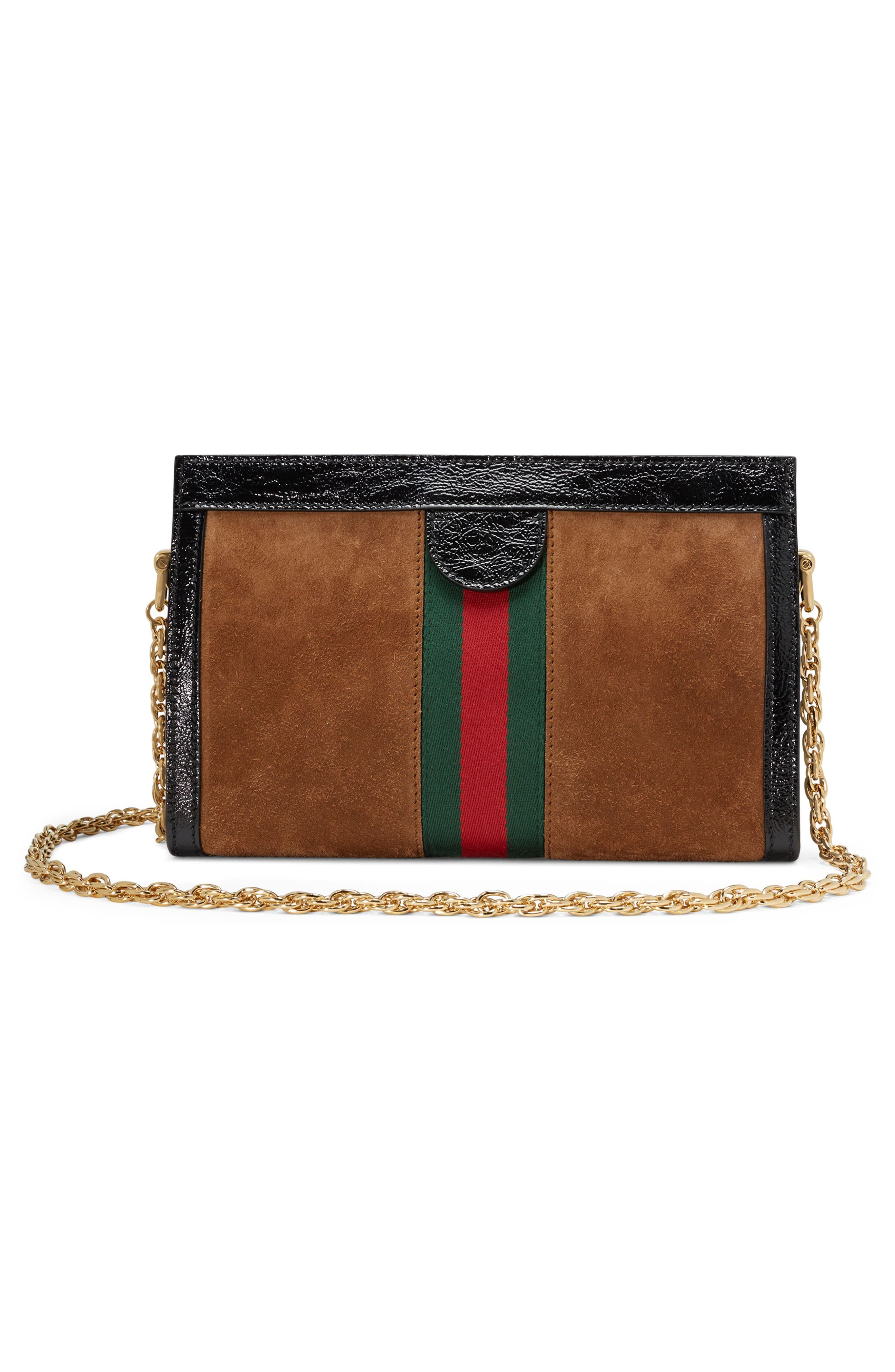 Small Linea Chain Shoulder Bag,                             Alternate thumbnail 2, color,                             NOCCIOLA/ NERO/ VERT RED VERT