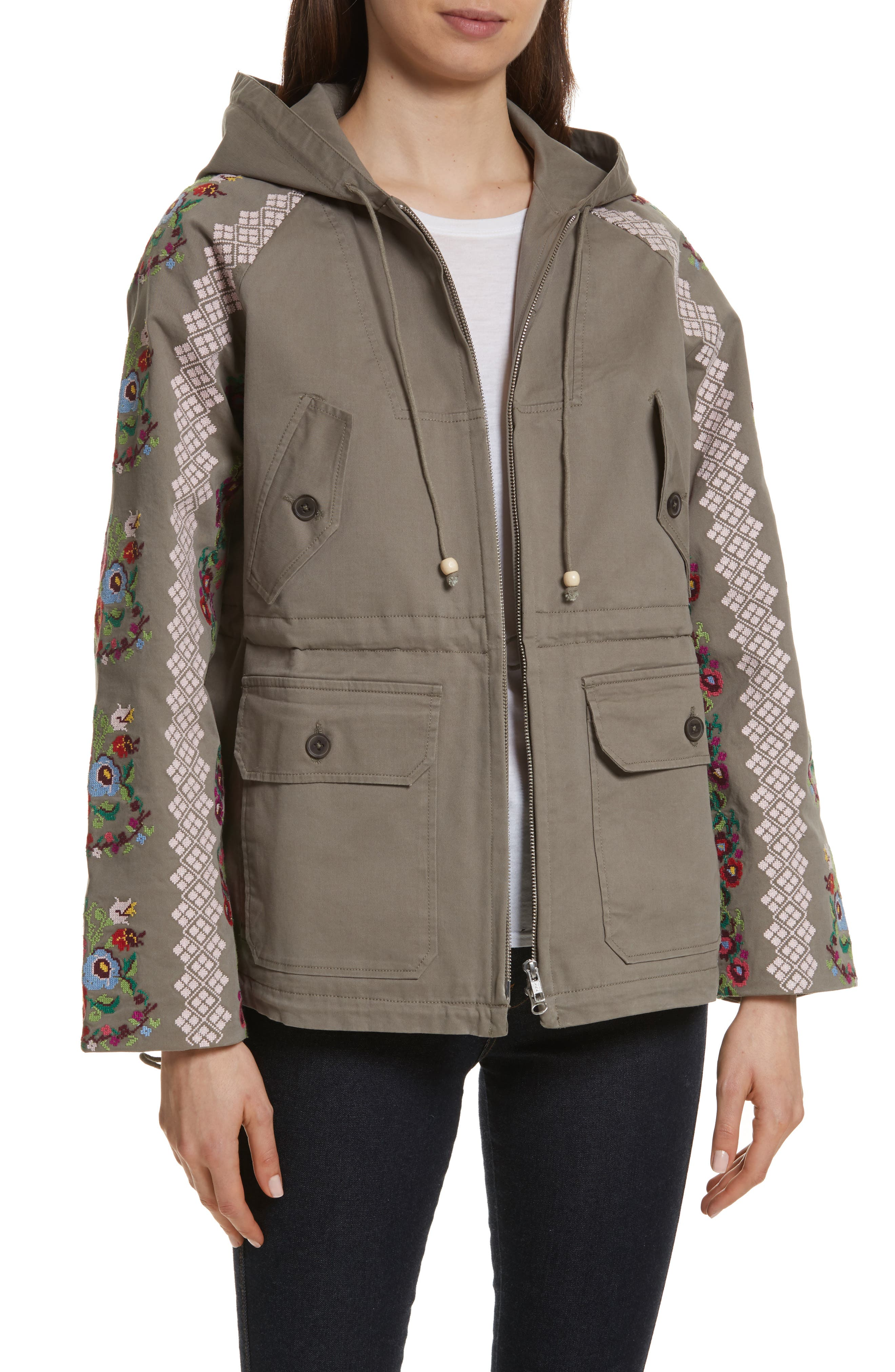 NEEDLE & THREAD,                             Cross Stitch Flower Parka,                             Main thumbnail 1, color,                             250