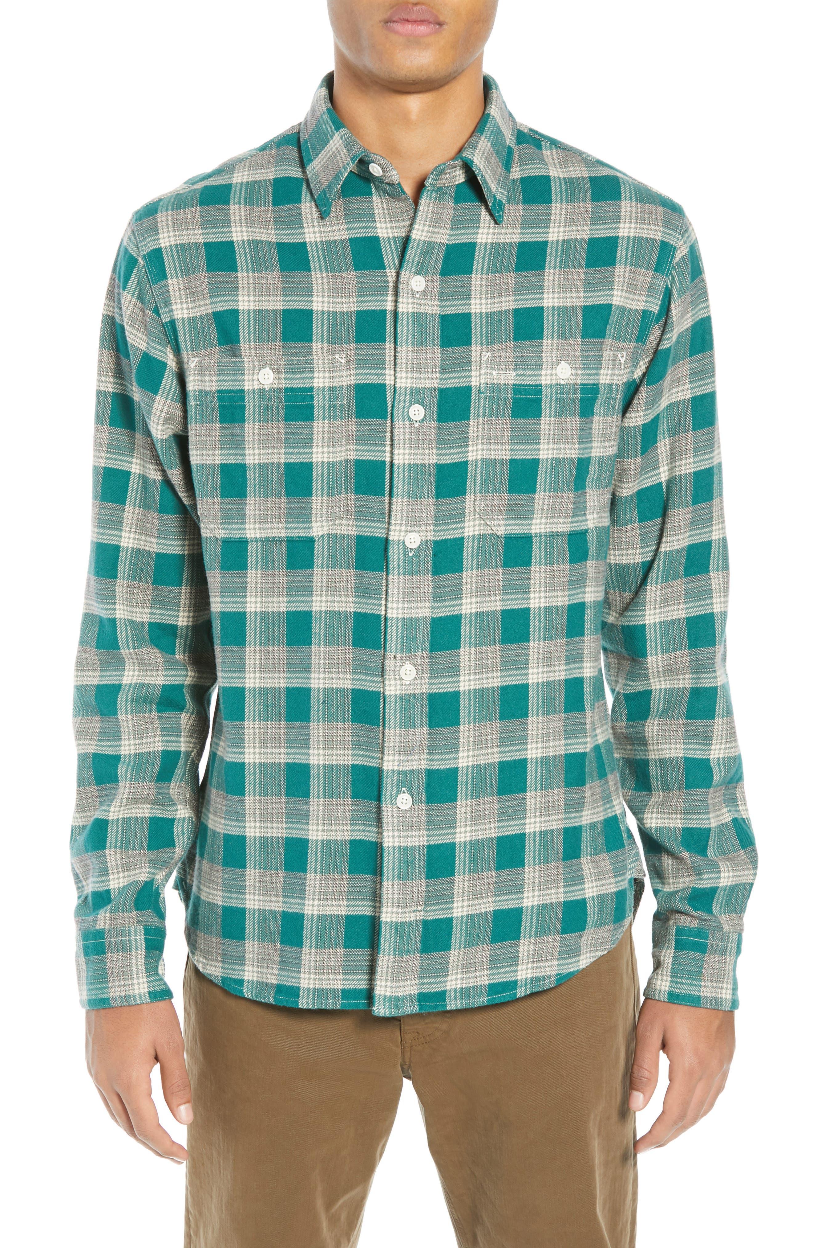 The Heavyweight Flannel Workshirt,                             Alternate thumbnail 2, color,                             GREEN HALF SHADOW