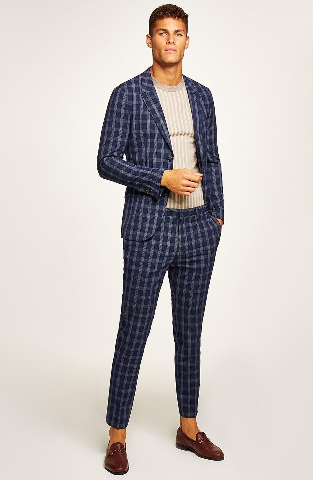 Muscle Fit Check Suit Trousers,                             Alternate thumbnail 4, color,                             NAVY BLUE MULTI