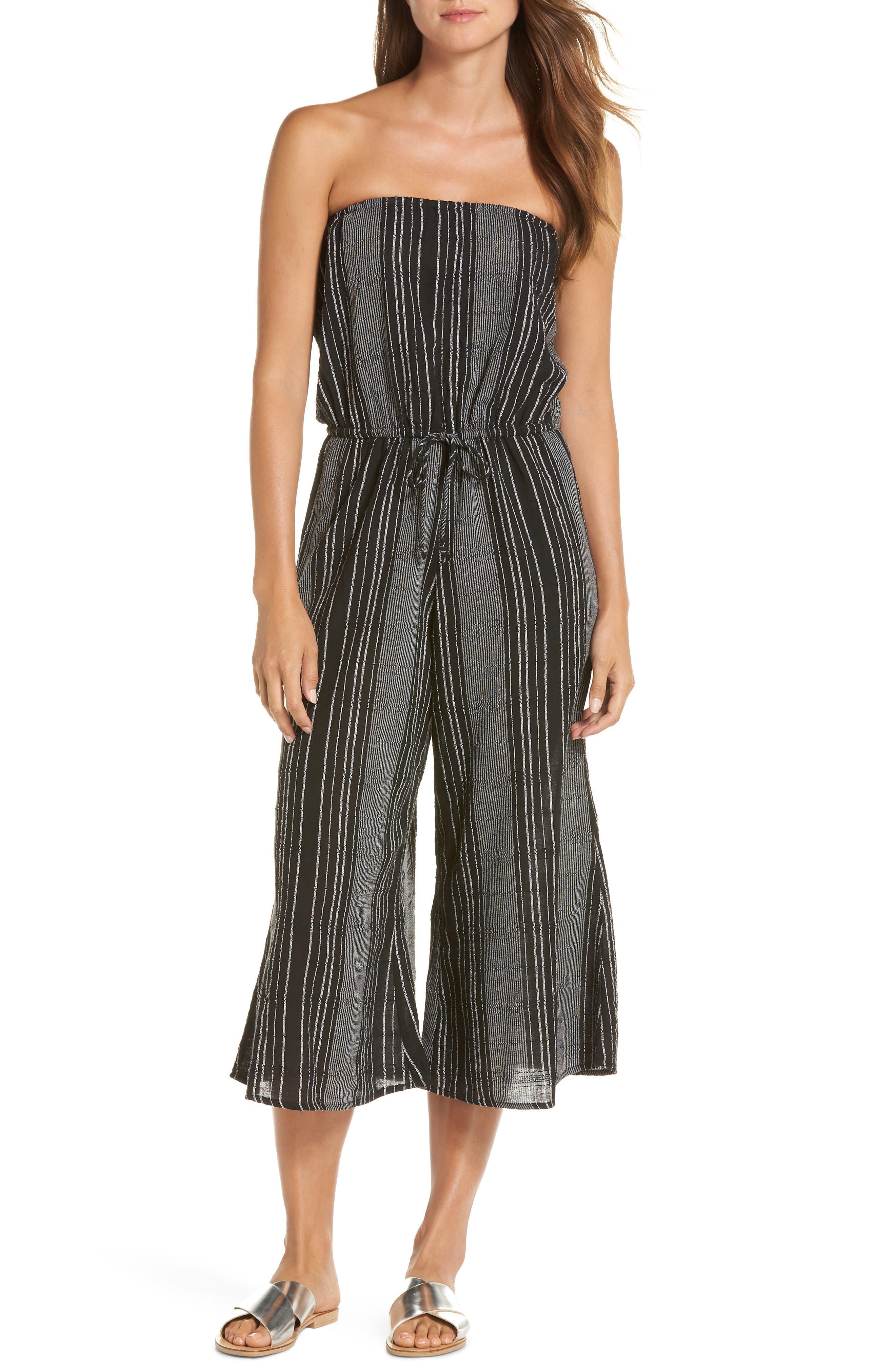 Strapless Cover-Up Culotte Jumpsuit,                             Main thumbnail 1, color,                             BLACK/ WHITE STRIPE