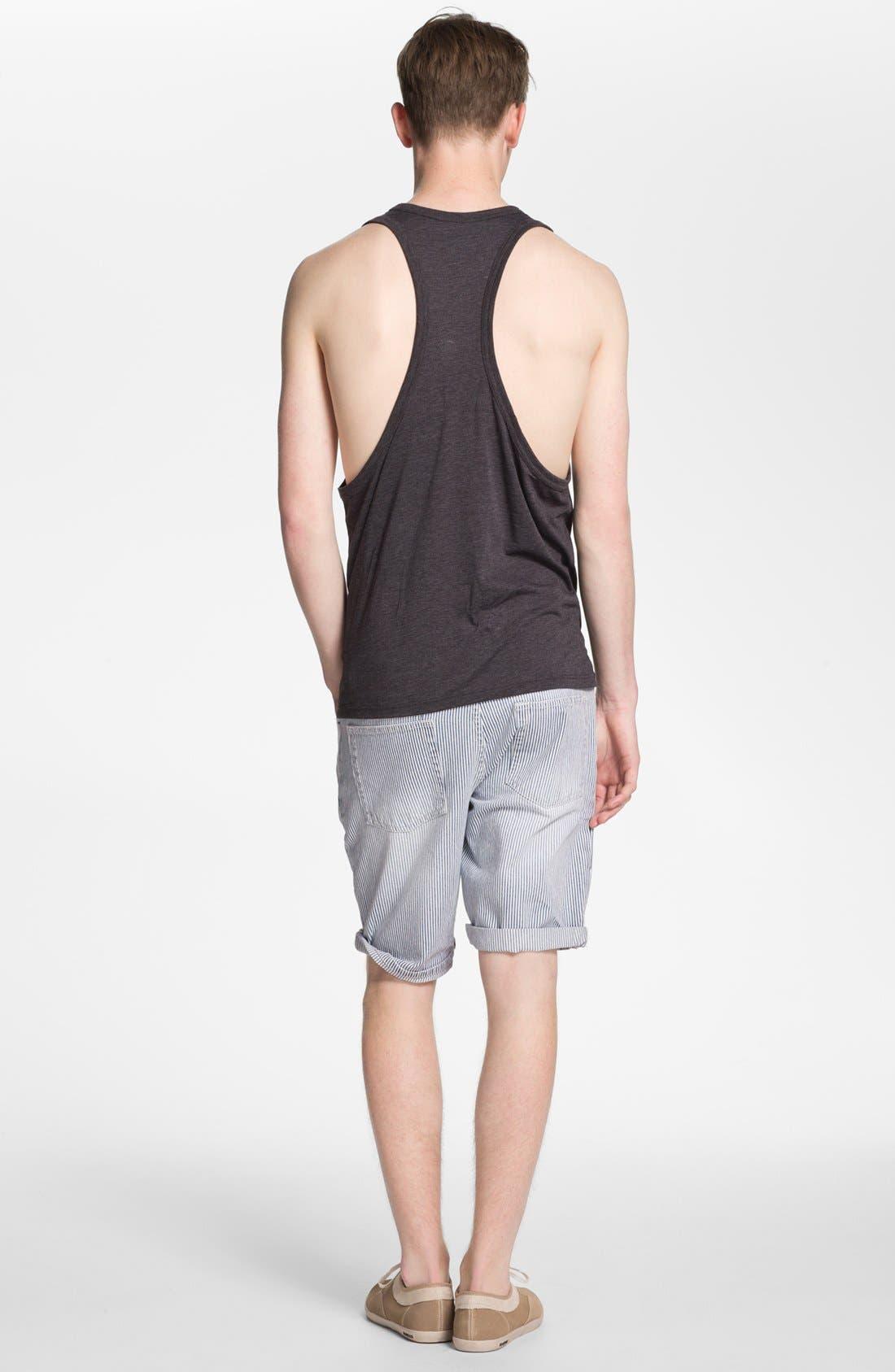 Slim Fit Stripe Denim Shorts,                             Alternate thumbnail 3, color,                             420