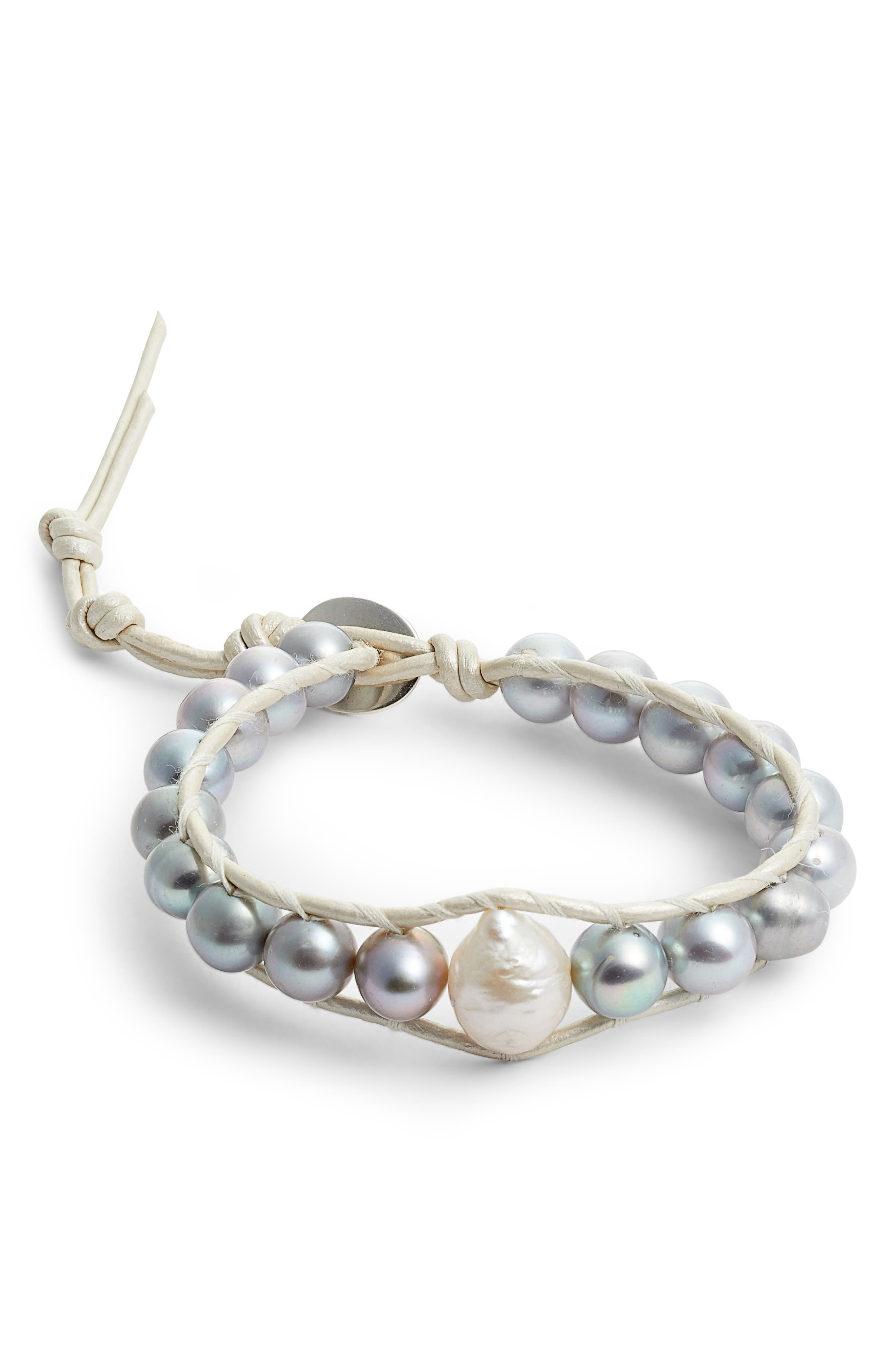 Grey Pearl Single Wrap Bracelet,                         Main,                         color,