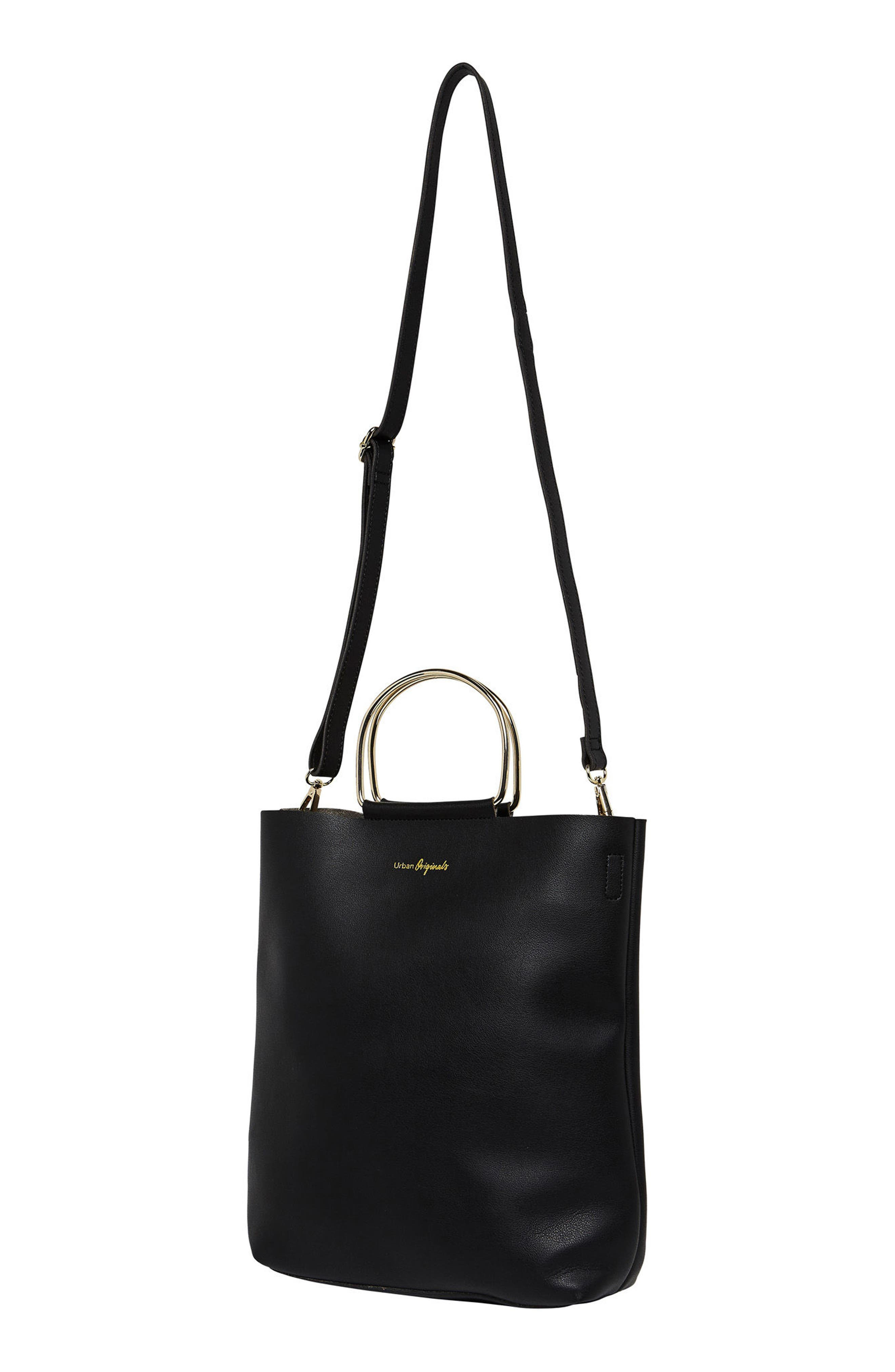 Style Hunter Vegan Leather Ring Handle Tote,                             Alternate thumbnail 3, color,                             001