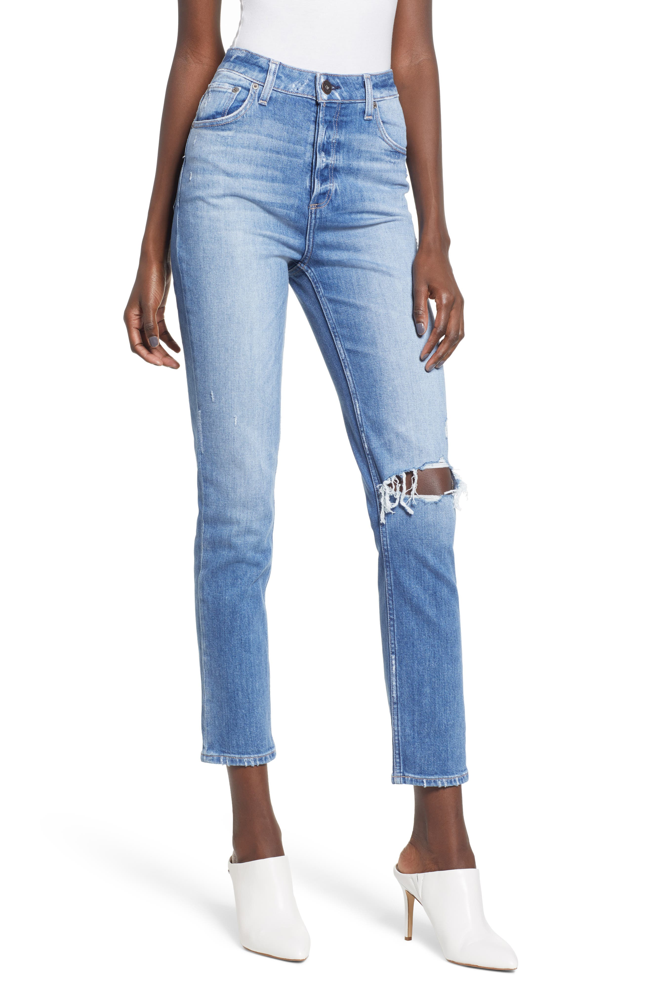 Sarah Ripped High Waist Ankle Straight Leg Jeans,                         Main,                         color, BROOKVIEW DESTRUCTED