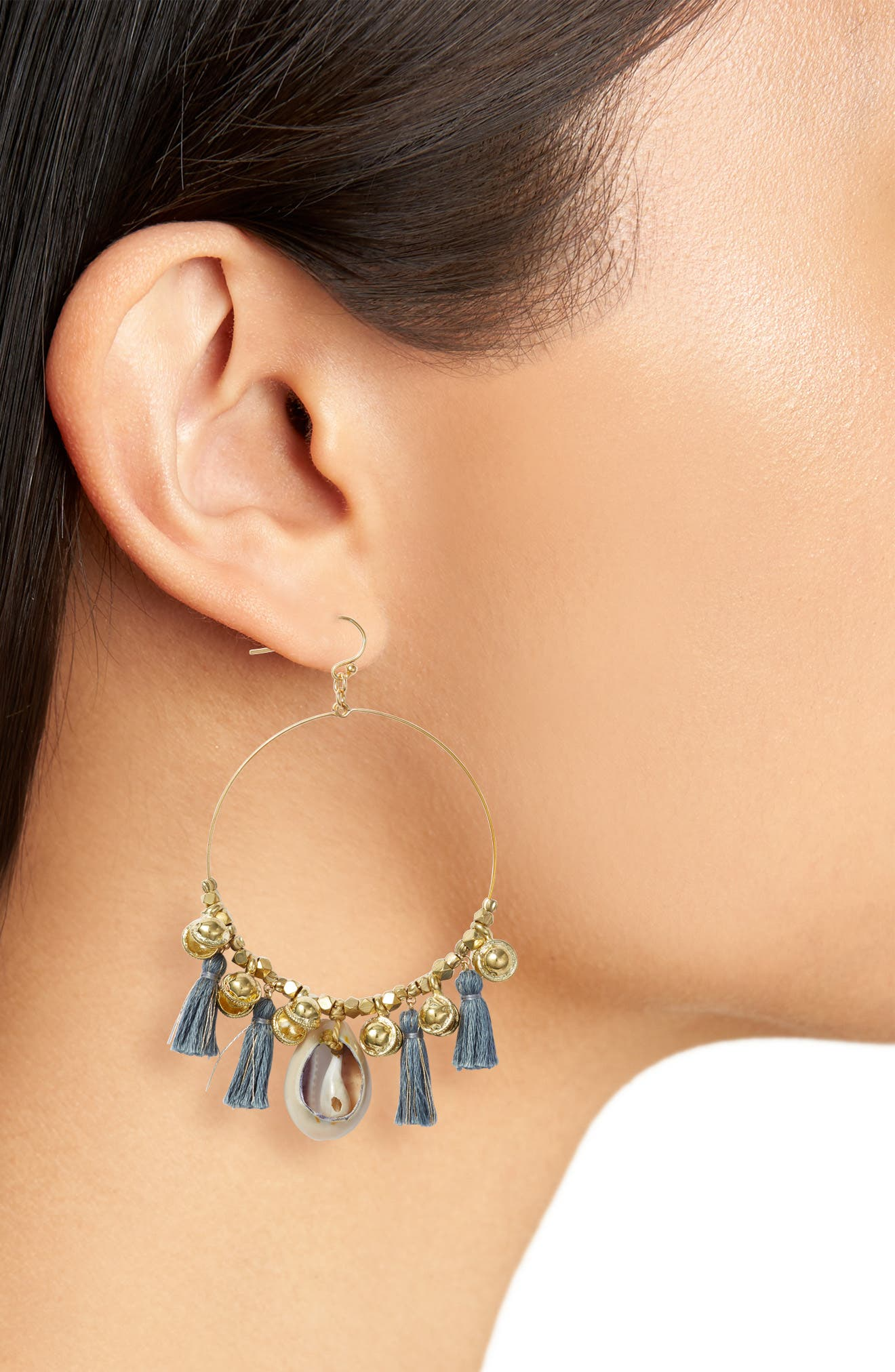 Tassel & Cowry Shell Hoop Earrings,                             Alternate thumbnail 2, color,                             CLOUD GREY