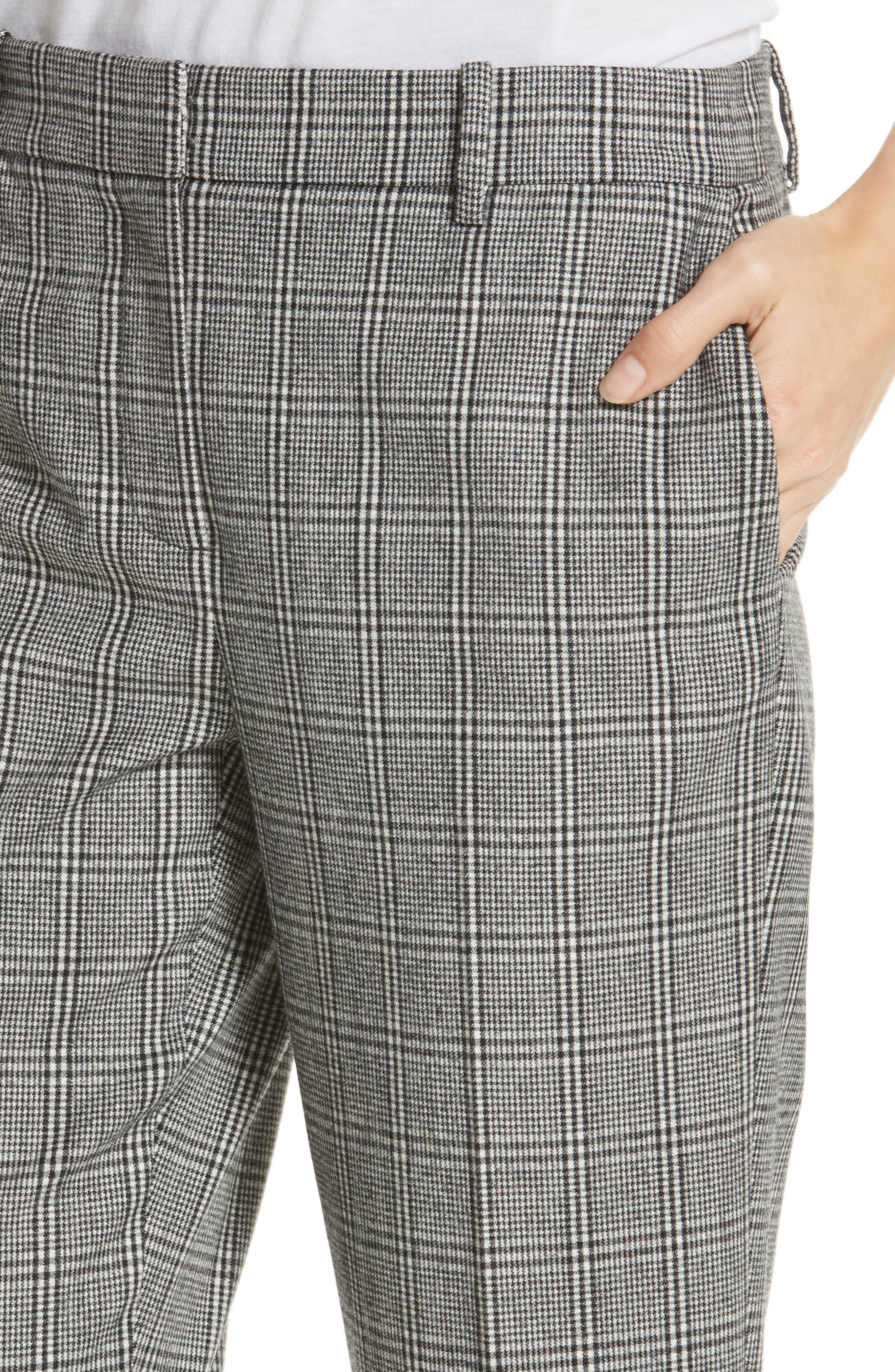Check Crop Pants,                             Alternate thumbnail 4, color,                             BLACK- WHITE ELODIE CHECK