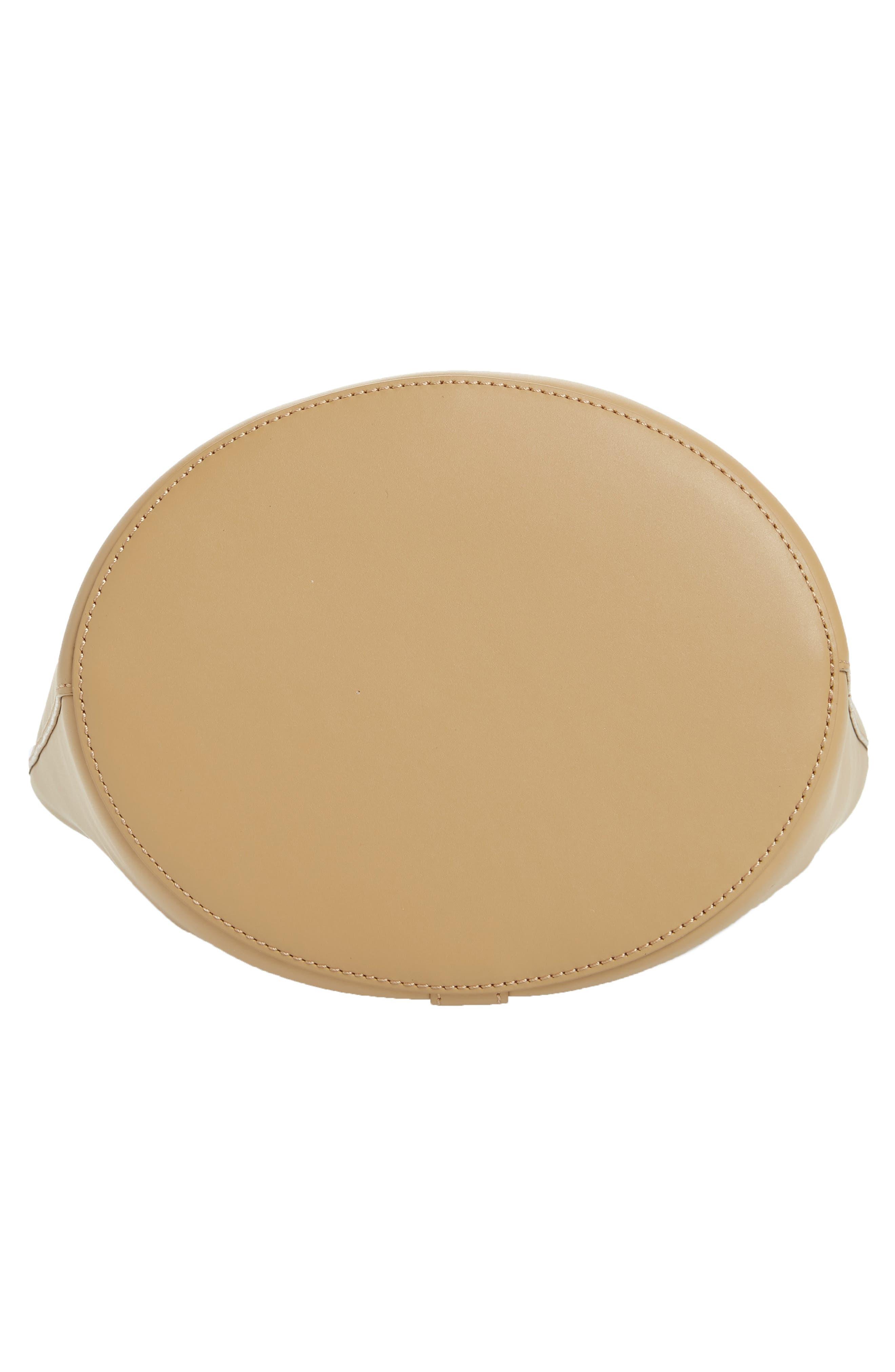 Dome Leather Bucket Bag,                             Alternate thumbnail 7, color,                             LIGHT CAMEL