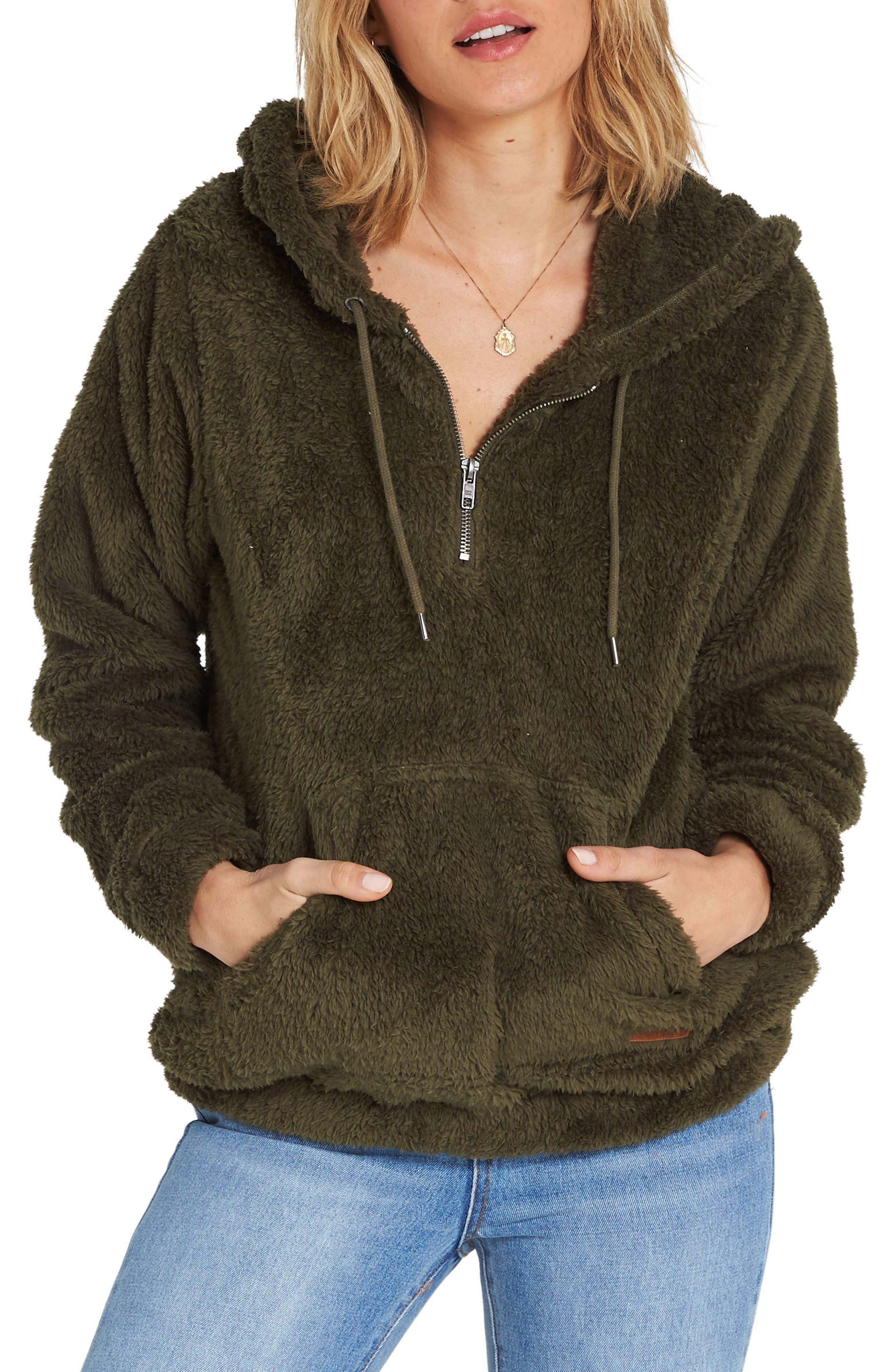 Cozy for Keeps Fleece Zip Hoodie,                         Main,                         color, OLIVE