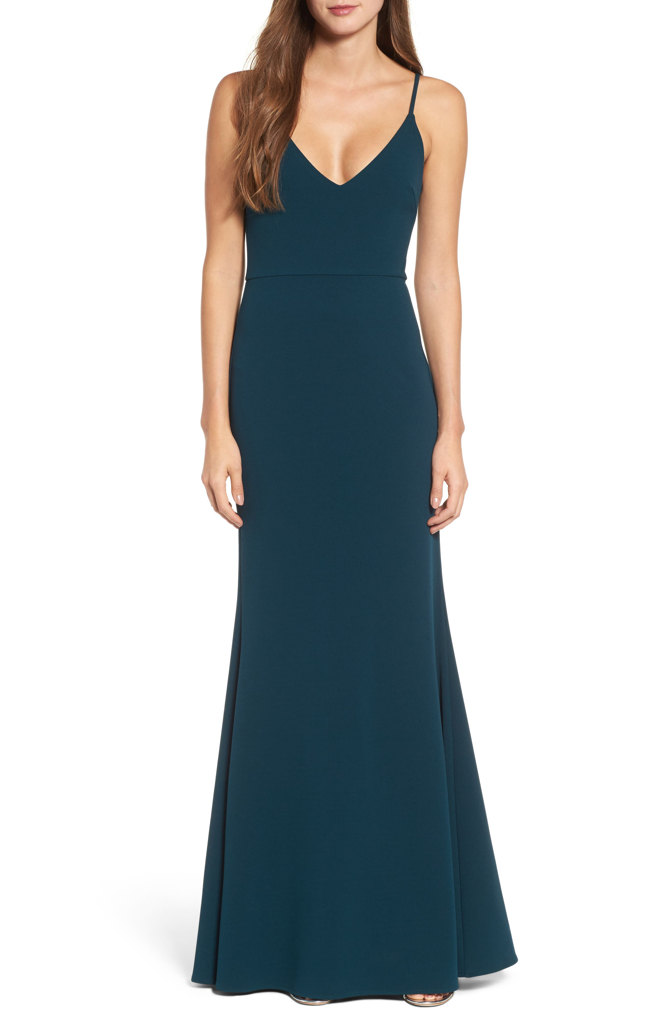 V-Neck Trumpet Gown,                             Main thumbnail 1, color,                             EMERALD