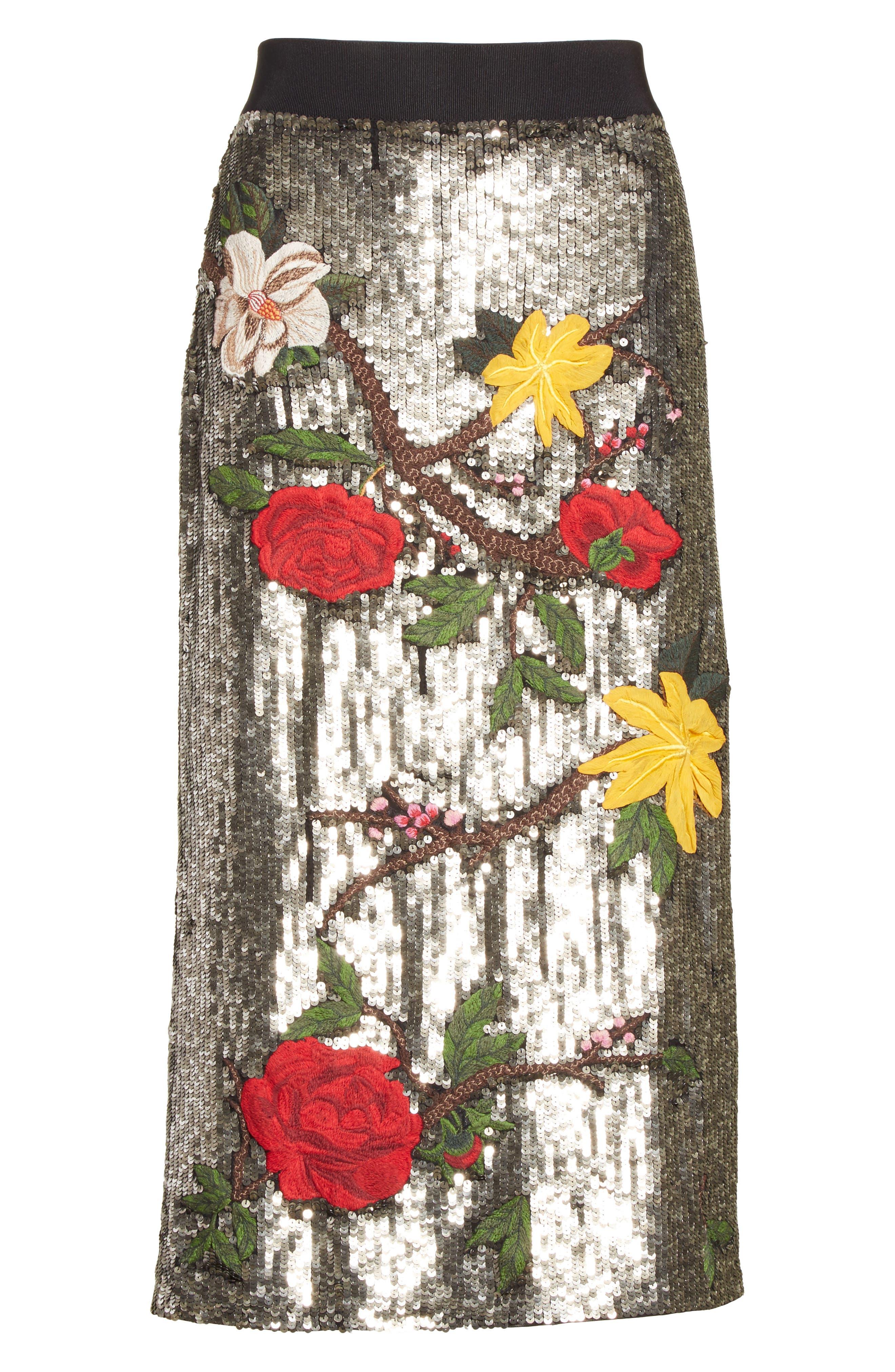 Ella Embellished Midi Skirt,                             Alternate thumbnail 6, color,                             047