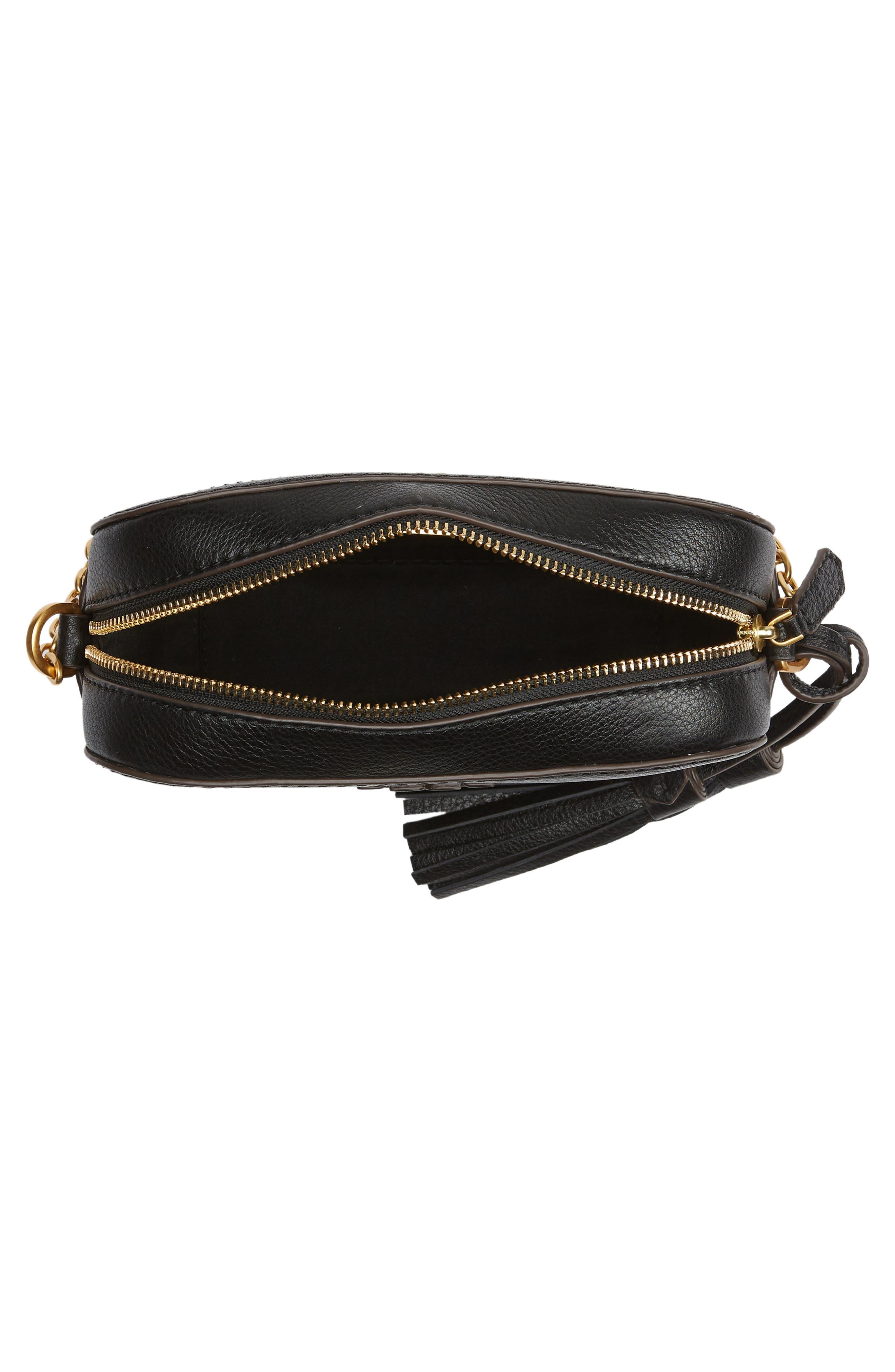 McGraw Leather Camera Bag,                             Alternate thumbnail 4, color,                             BLACK