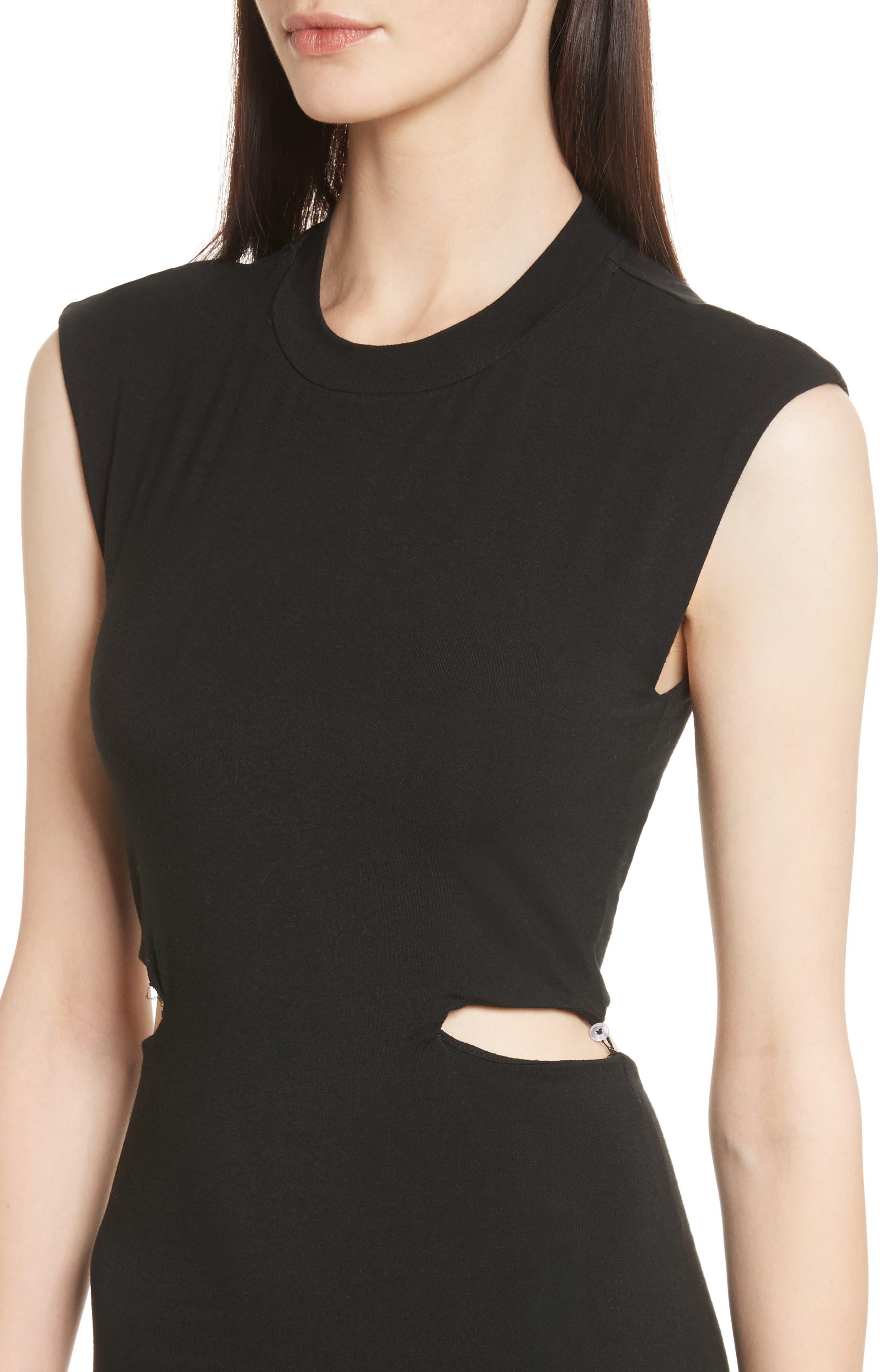 Cutout Stretch Jersey Dress,                             Alternate thumbnail 4, color,                             001