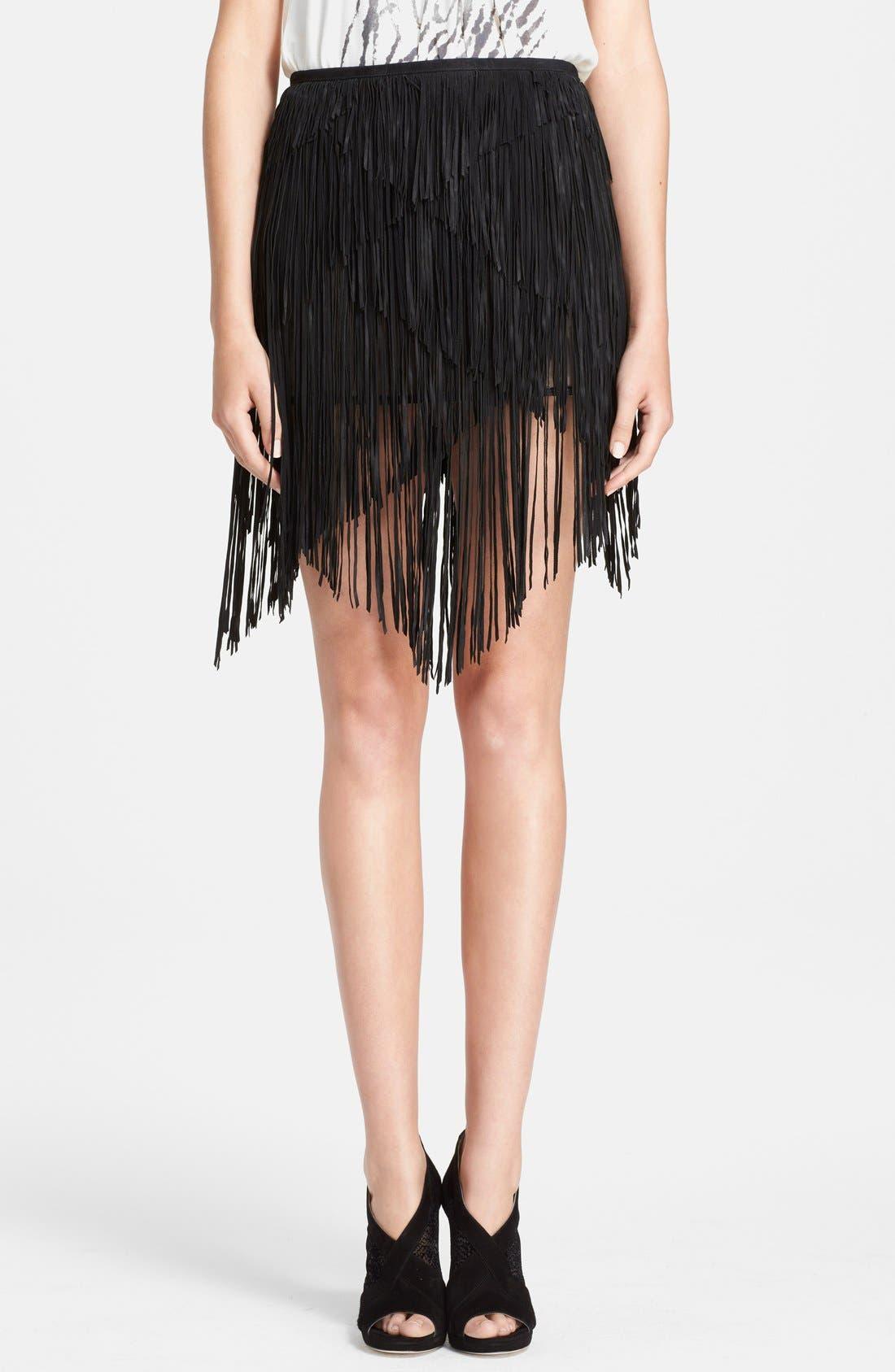 HAUTE HIPPIE Asymmetrical Suede Fringe Skirt, Main, color, 001