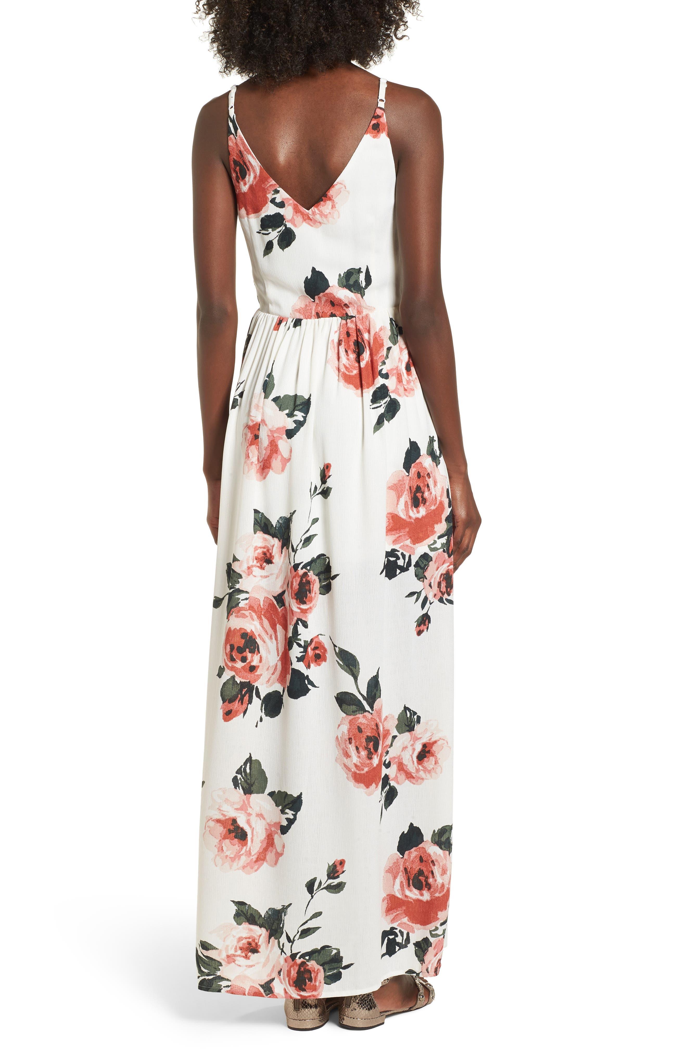 Floral Print Maxi Dress,                             Alternate thumbnail 2, color,                             100
