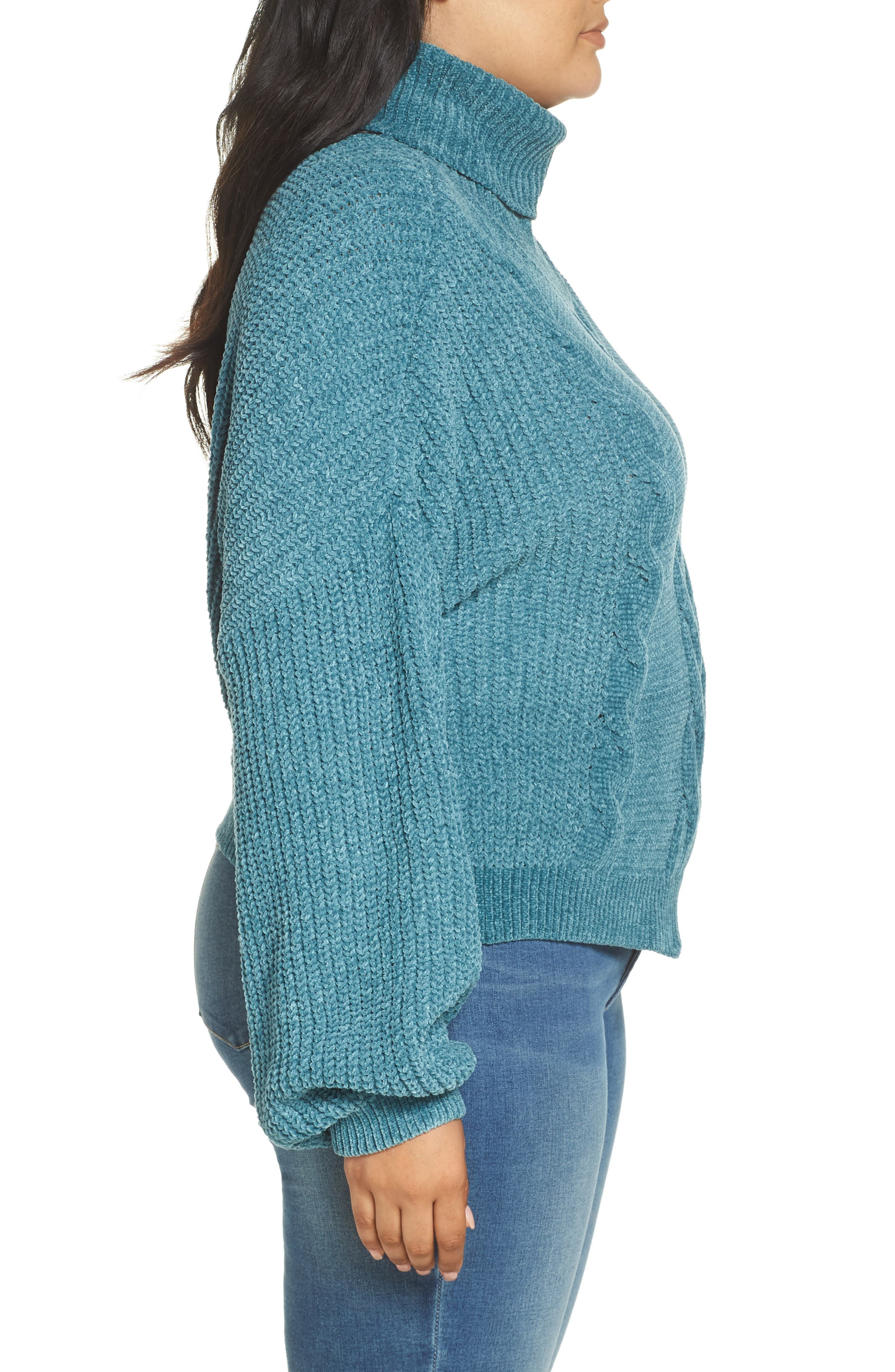 Cable Knit Chenille Sweater,                             Alternate thumbnail 3, color,                             TEAL HYDRO