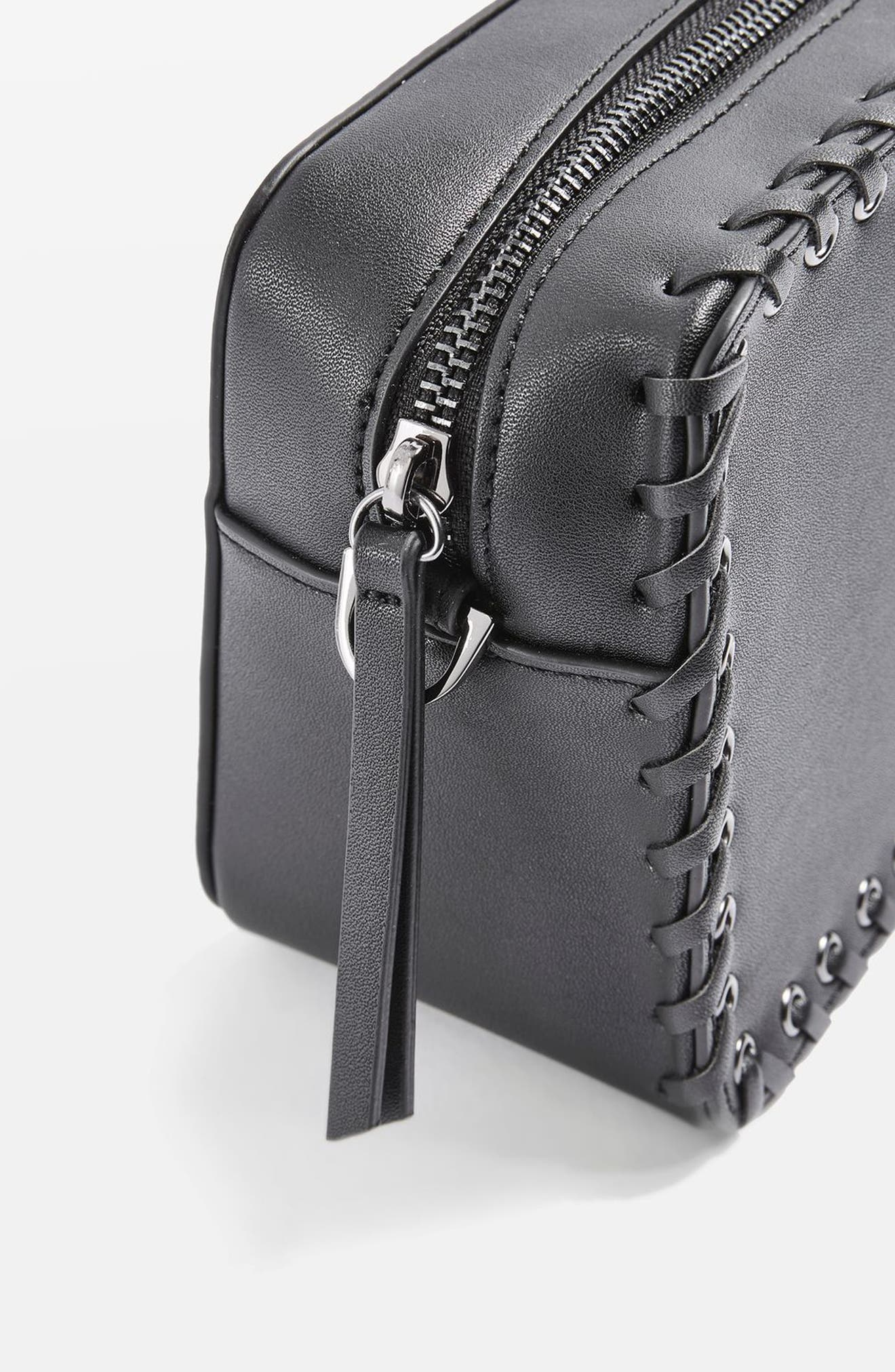 Rogue Whipstitch Faux Leather Crossbody Bag,                             Alternate thumbnail 7, color,                             001