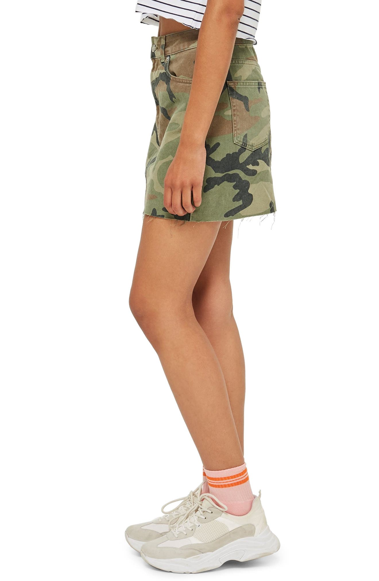 Camouflage Denim Skirt,                             Alternate thumbnail 3, color,                             GREEN MULTI