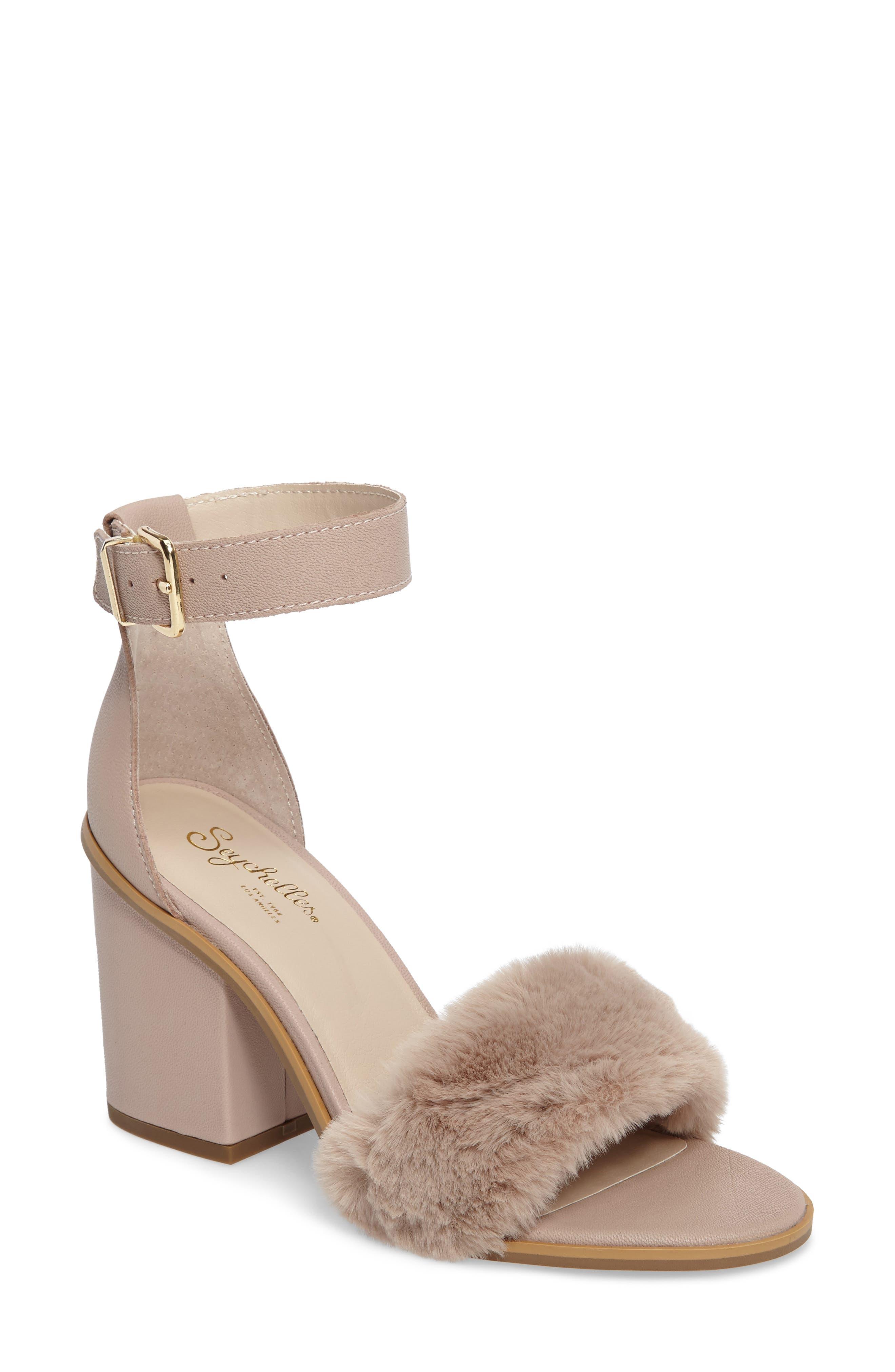 Faux Fur Ankle Strap Sandal,                             Main thumbnail 2, color,