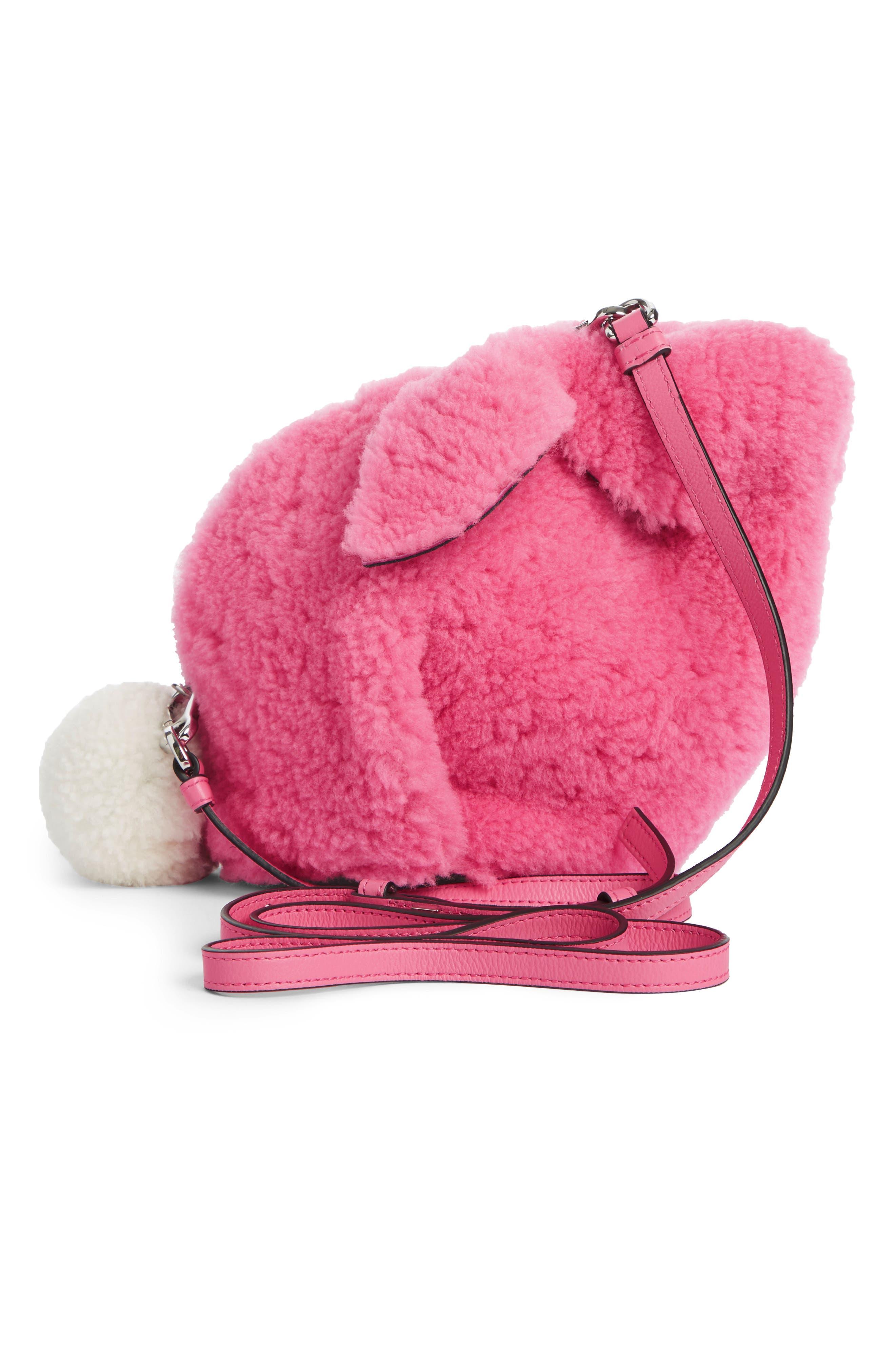 Mini Bunny Fuzzy Genuine Shearling Crossbody Bag,                             Alternate thumbnail 3, color,                             WILD ROSE