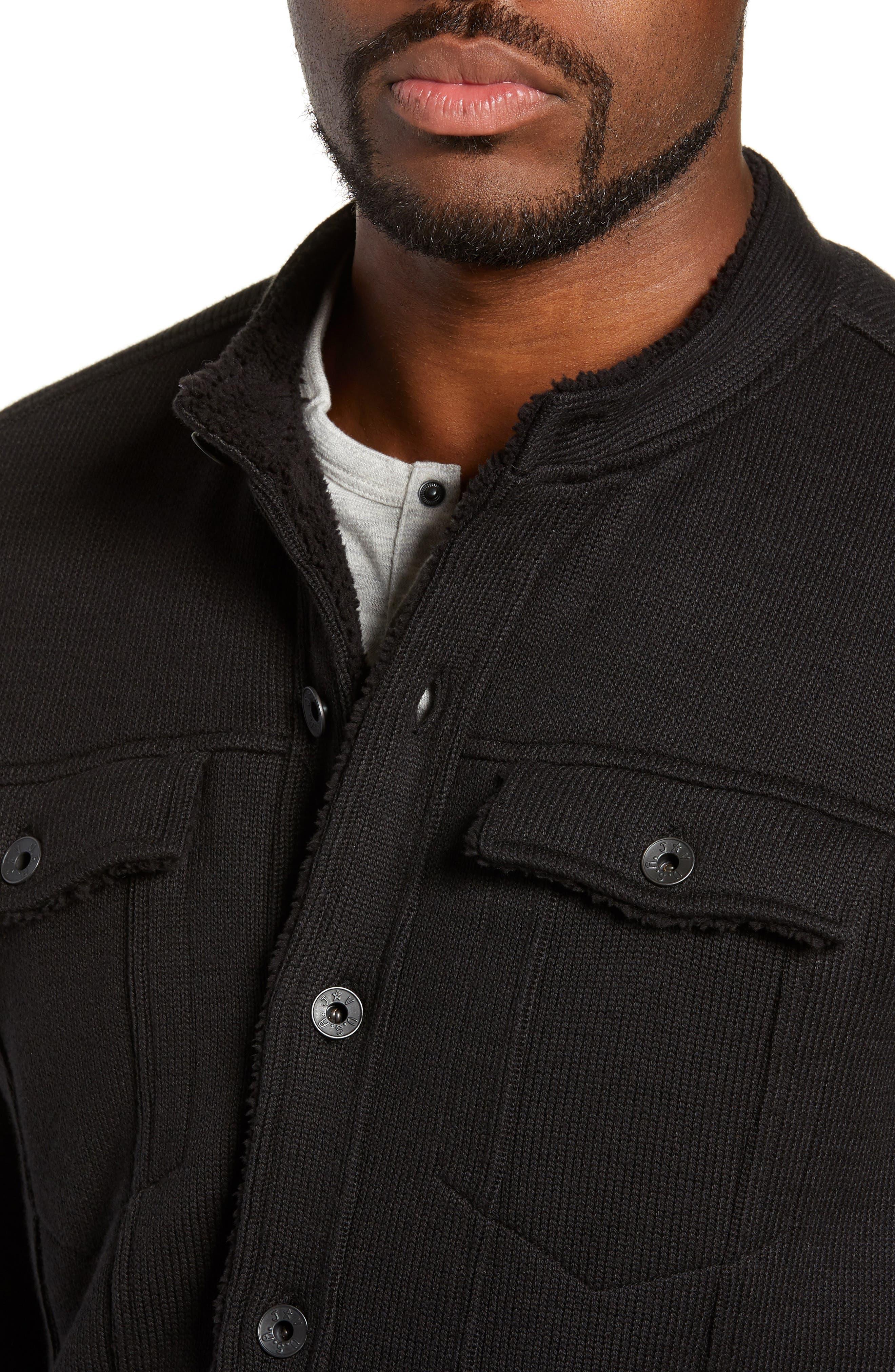 Lined Jean Jacket,                             Alternate thumbnail 4, color,                             BLACK