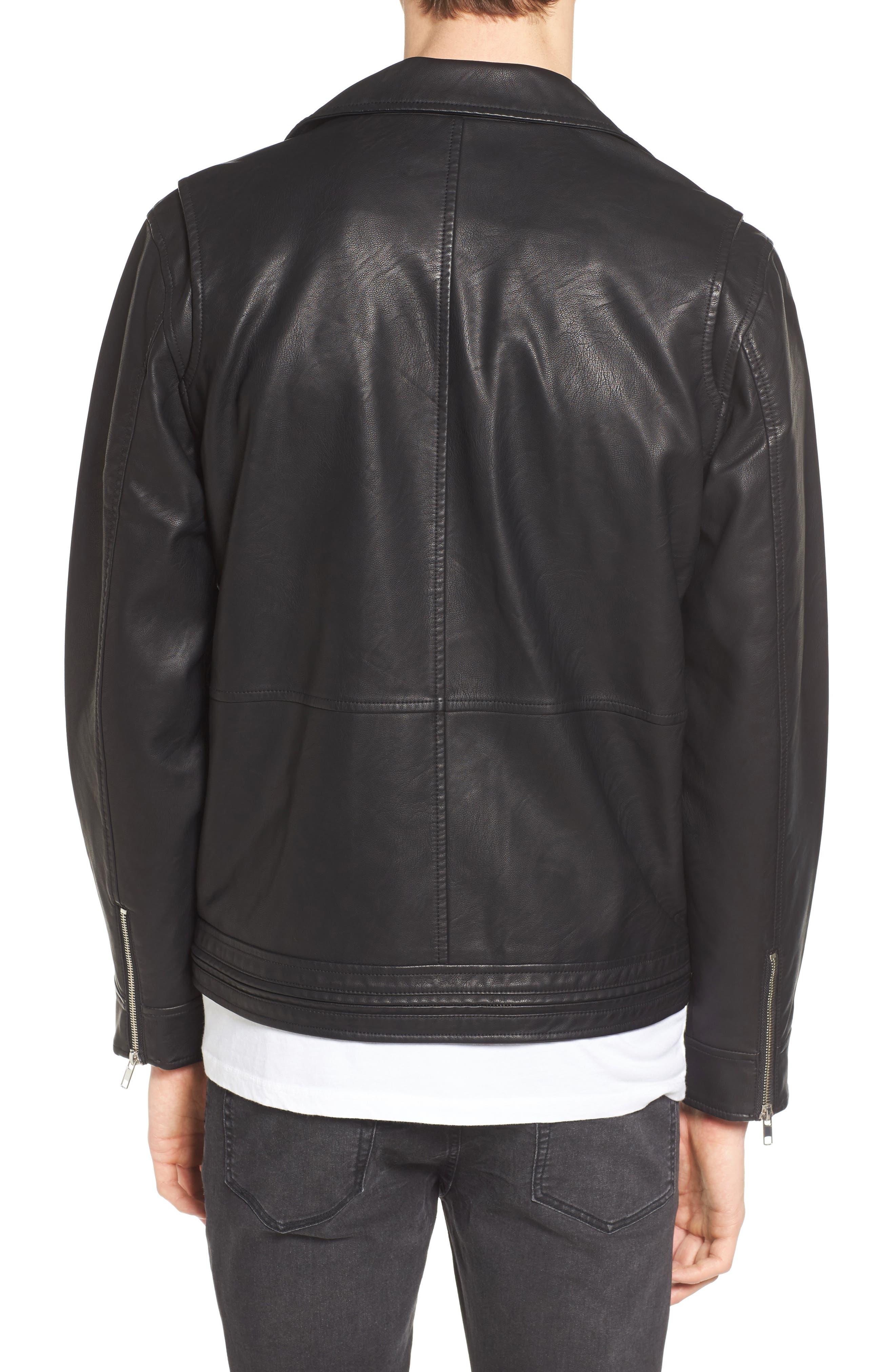 Bastards Faux Leather Biker Jacket,                             Alternate thumbnail 2, color,                             BLACK