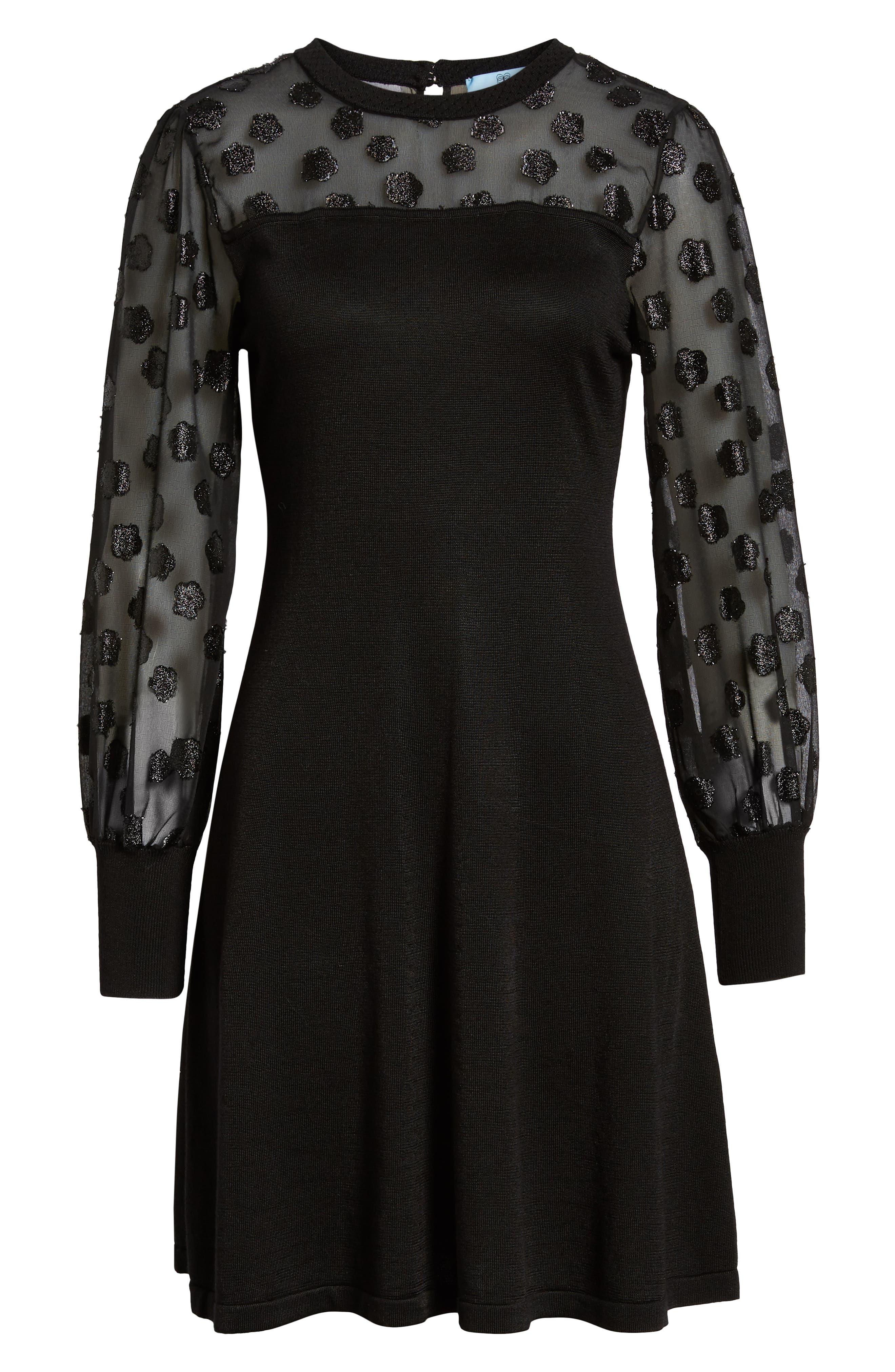 Fil Coupé Mixed Media Dress,                             Alternate thumbnail 7, color,                             RICH BLACK