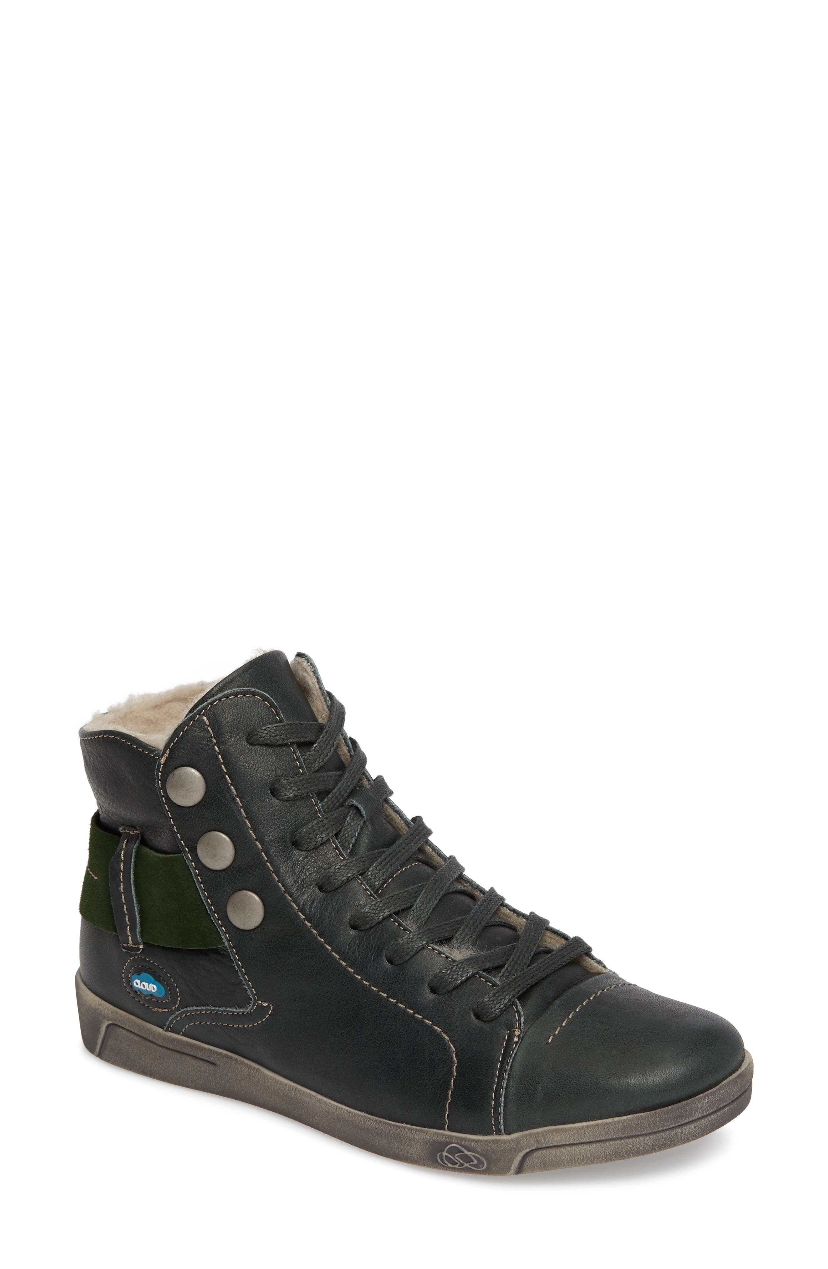 'Aline' Sneaker,                             Main thumbnail 1, color,                             GREEN LEATHER