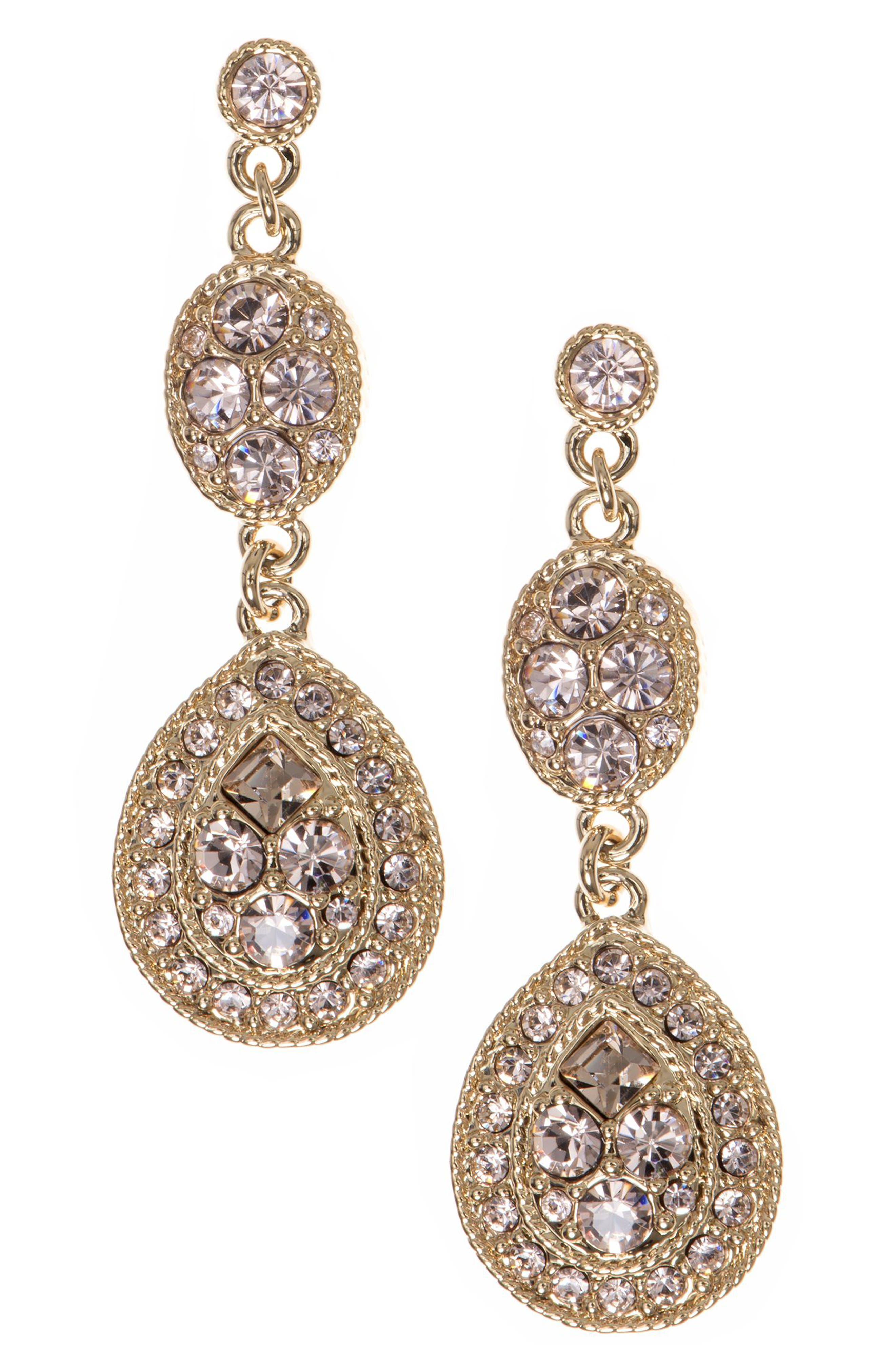 GIVENCHY,                             Crystal Drop Earrings,                             Main thumbnail 1, color,                             GOLD / SILK