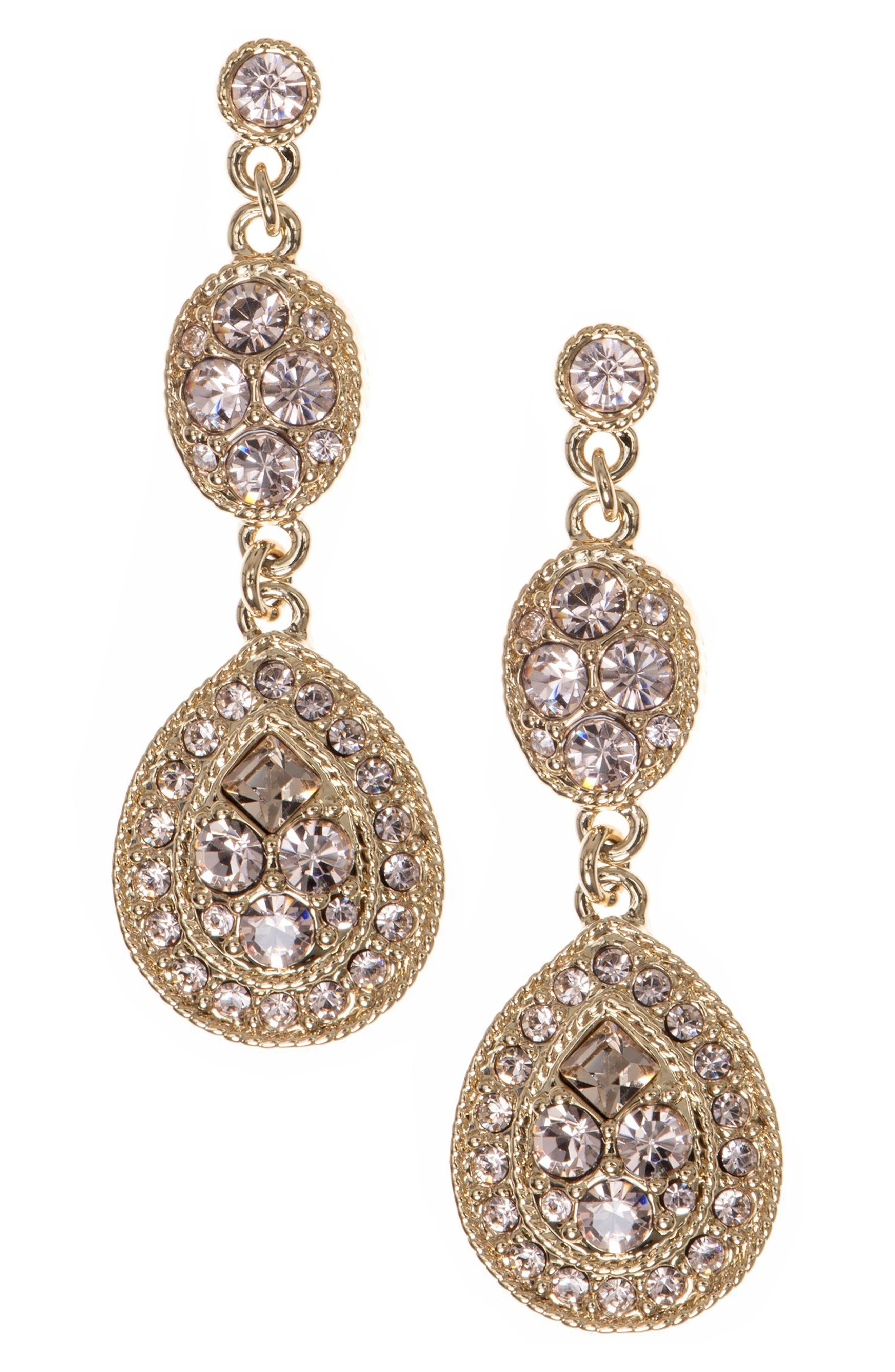 GIVENCHY Crystal Drop Earrings, Main, color, GOLD / SILK