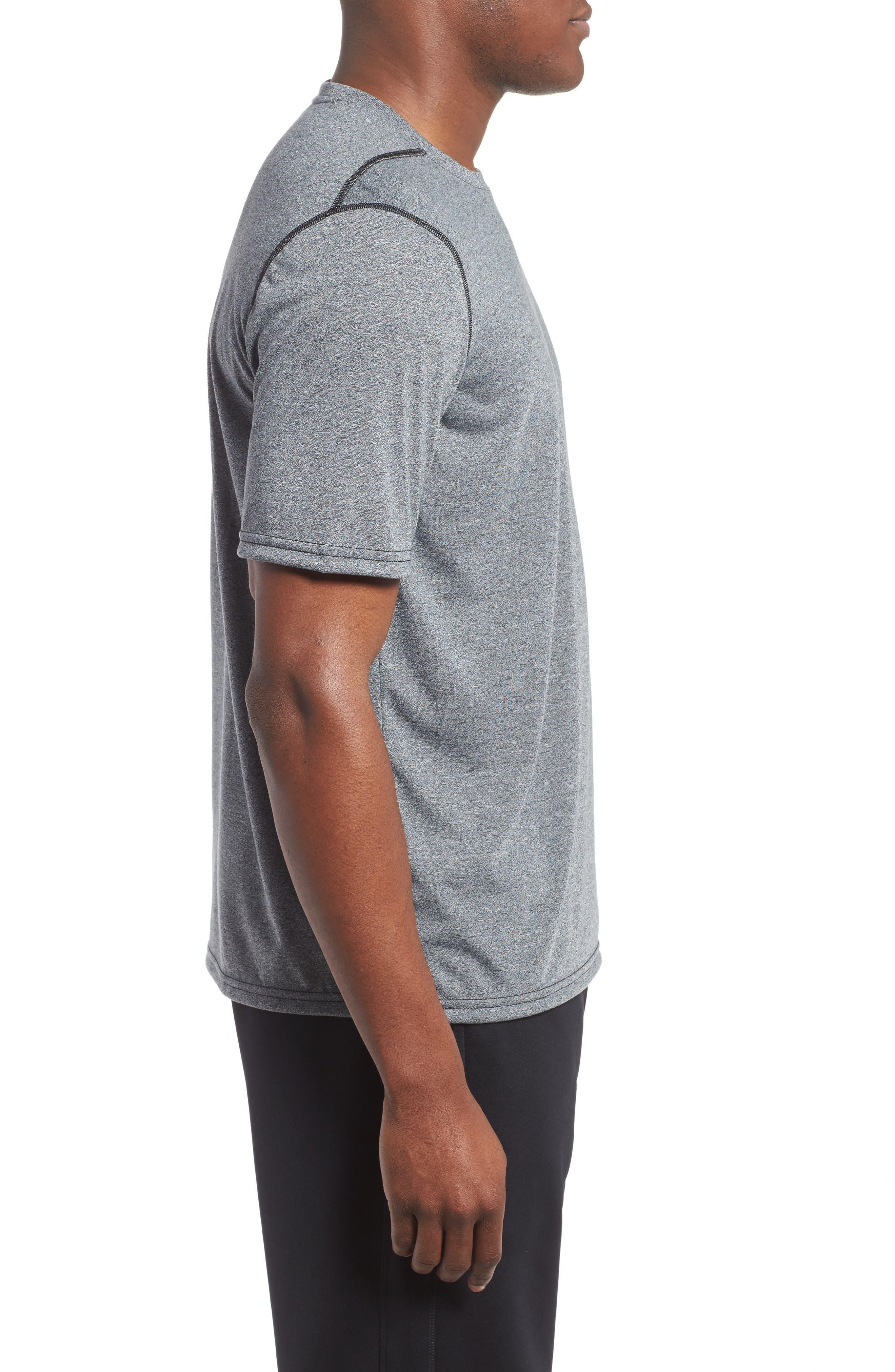 Regular Fit Threadborne T-Shirt,                             Alternate thumbnail 3, color,                             BLACK TWIST