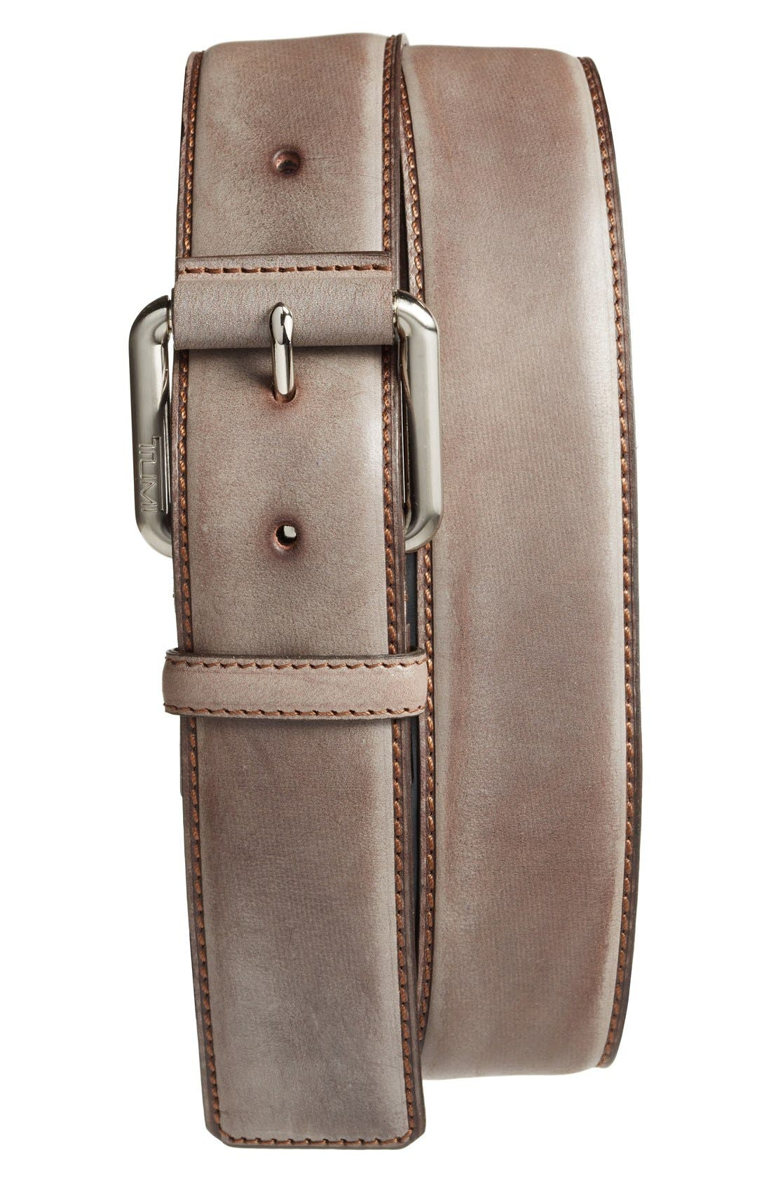 Leather Belt,                         Main,                         color, NICKEL SATIN/ BROWN