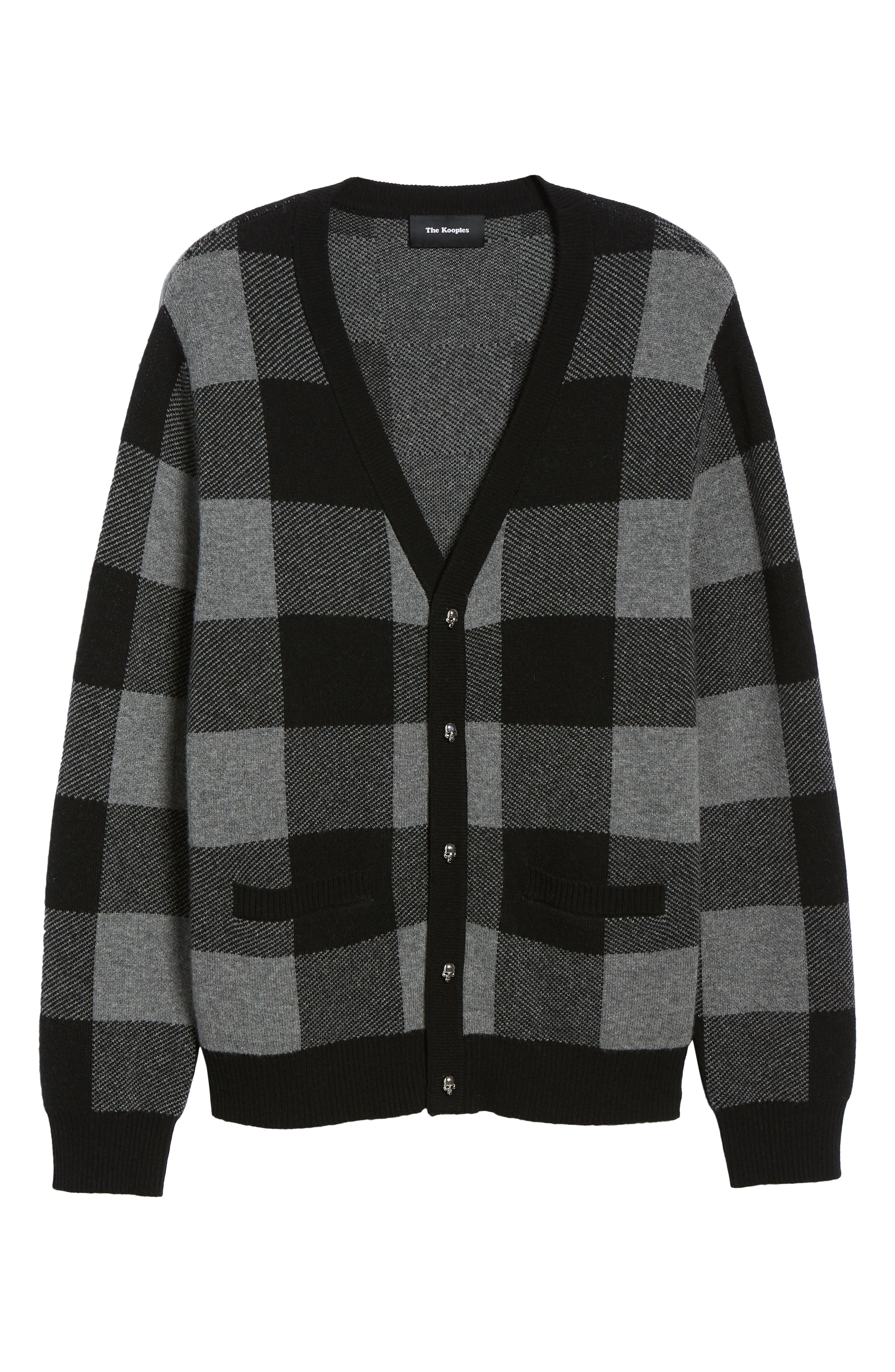 Regular Fit Check Wool Cardigan,                             Alternate thumbnail 6, color,                             BLACK/ GREY