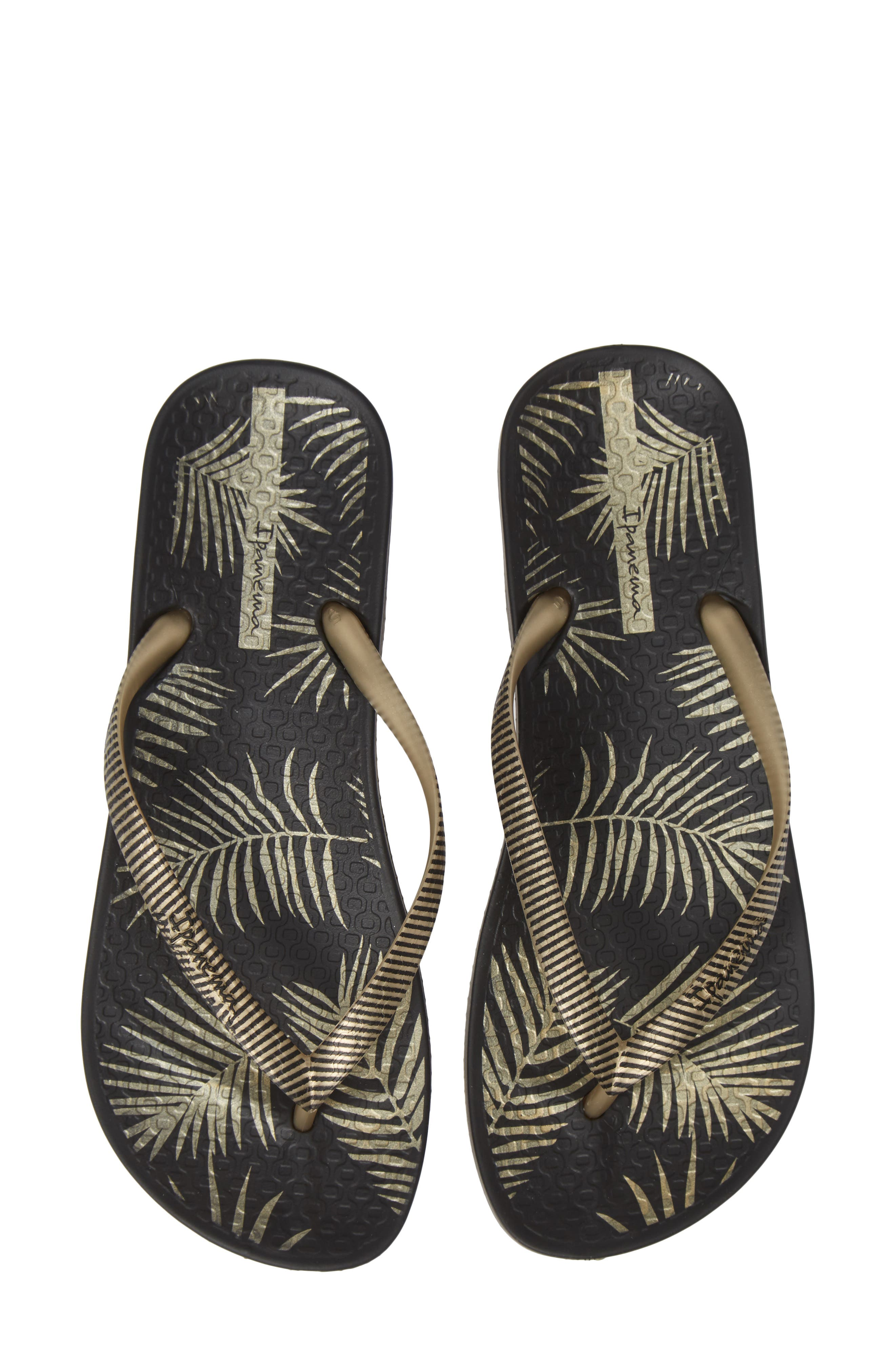Ana Pine Print Flip Flop,                         Main,                         color, BLACK/ GOLD