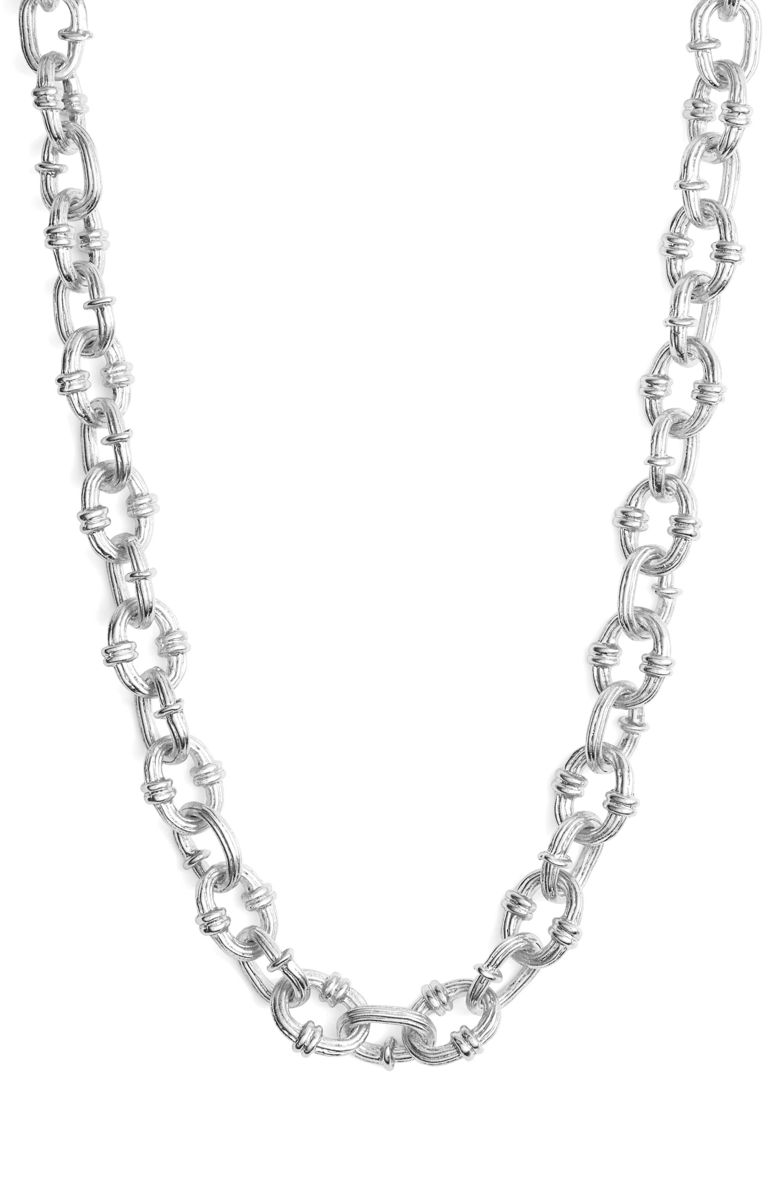KARINE SULTAN,                             Textured Chain Necklace,                             Main thumbnail 1, color,                             SILVER
