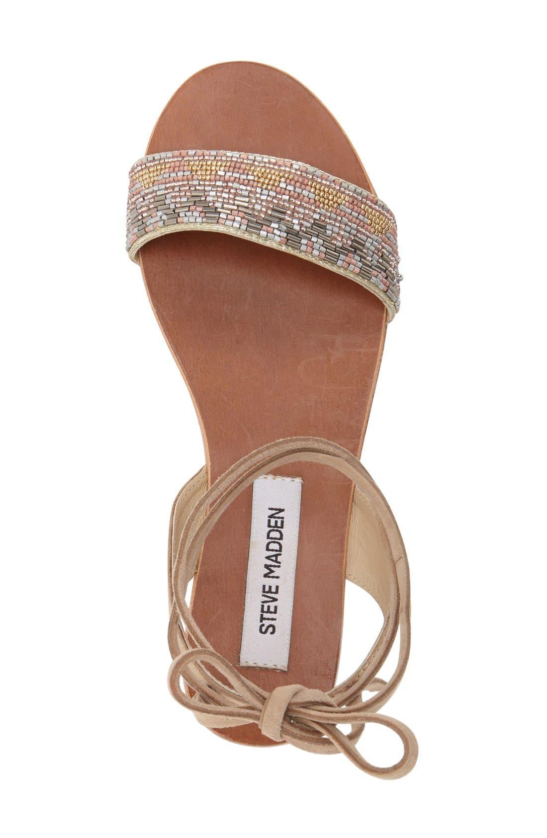 'Shaney' Beaded Wraparound Lace Sandal,                             Alternate thumbnail 5, color,                             250
