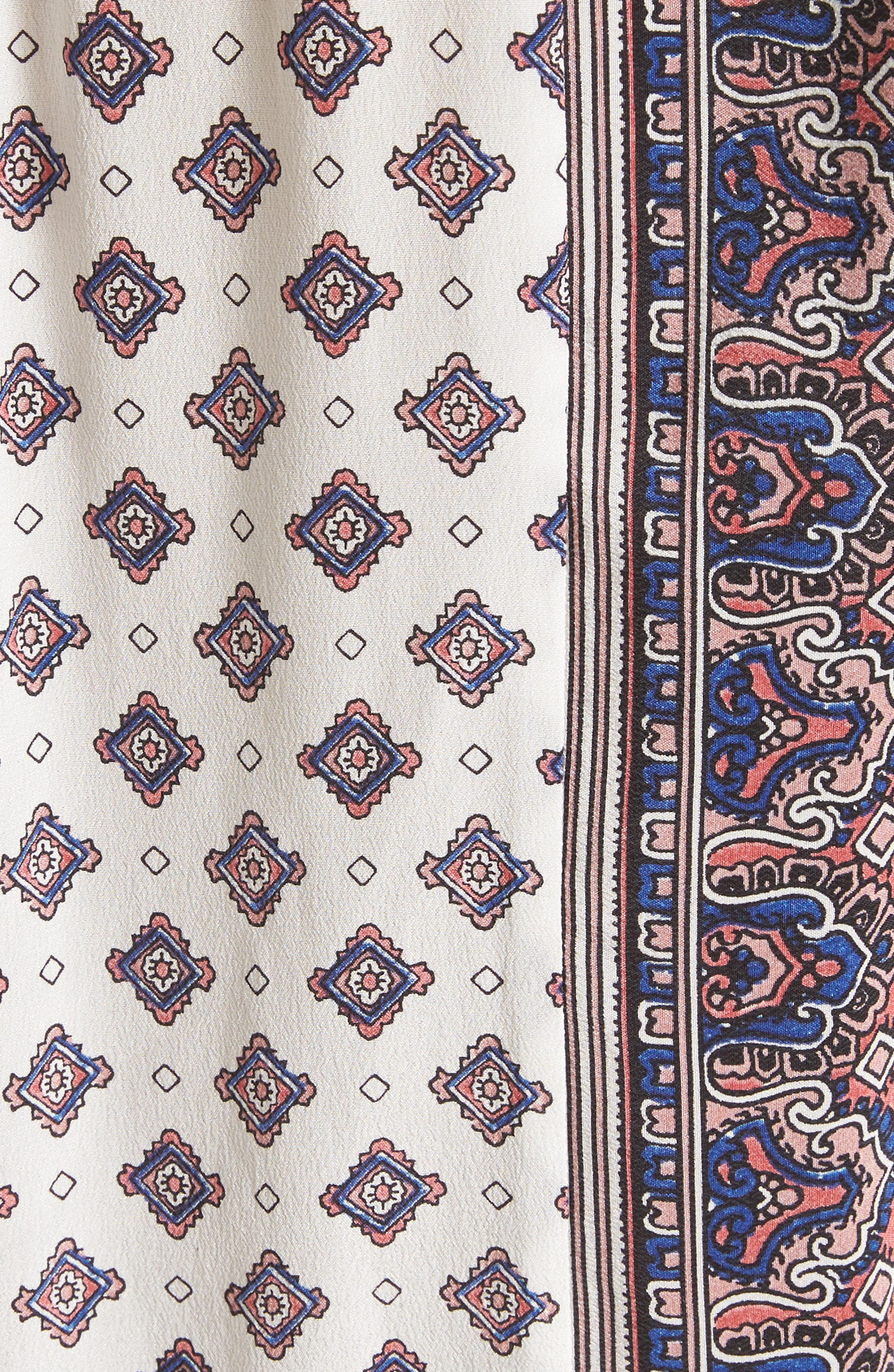 Akeela Border Print Silk Romper,                             Alternate thumbnail 5, color,                             114