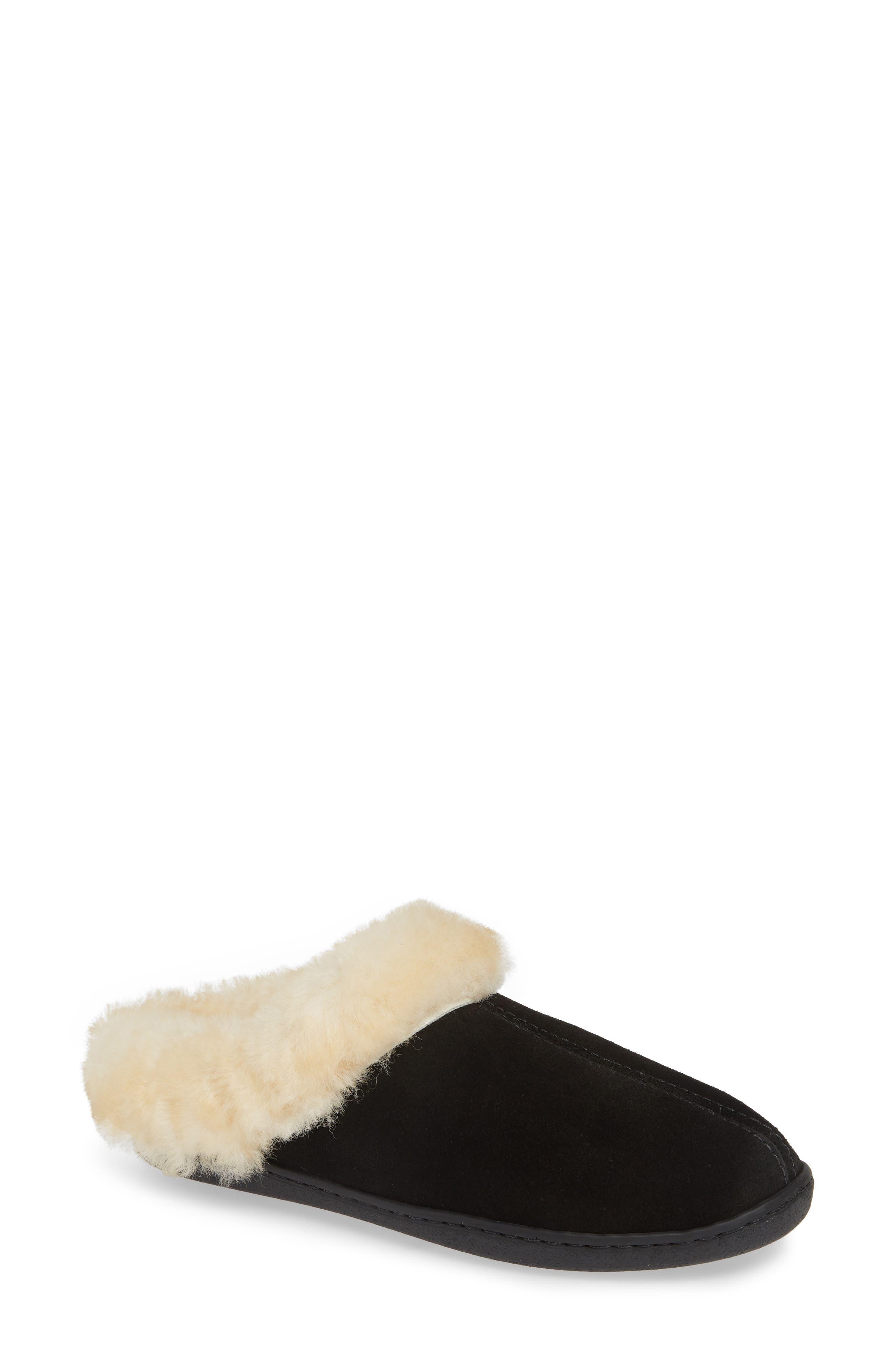 SheepskinMule Slipper,                             Main thumbnail 1, color,                             BLACK SUEDE