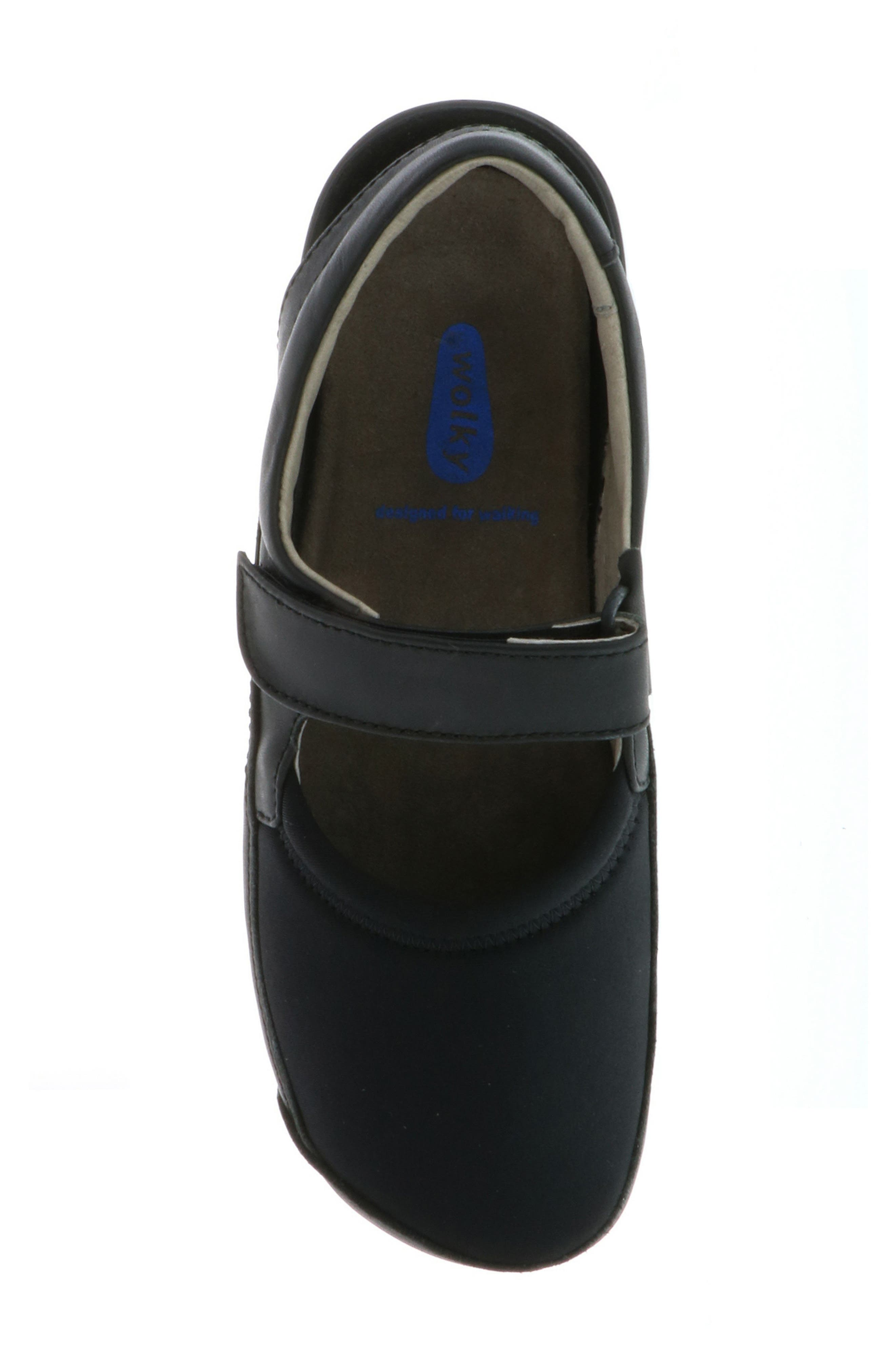 WOLKY,                             Ankle Strap Clog,                             Alternate thumbnail 5, color,                             BLACK LEATHER