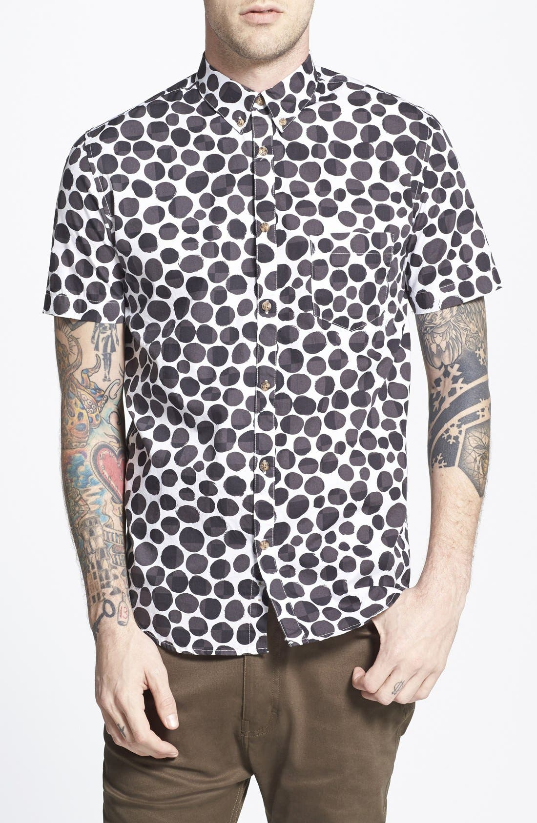 BARNEY COOLS,                             Trim Fit Short Sleeve Pebble Print Oxford Shirt,                             Main thumbnail 1, color,                             001