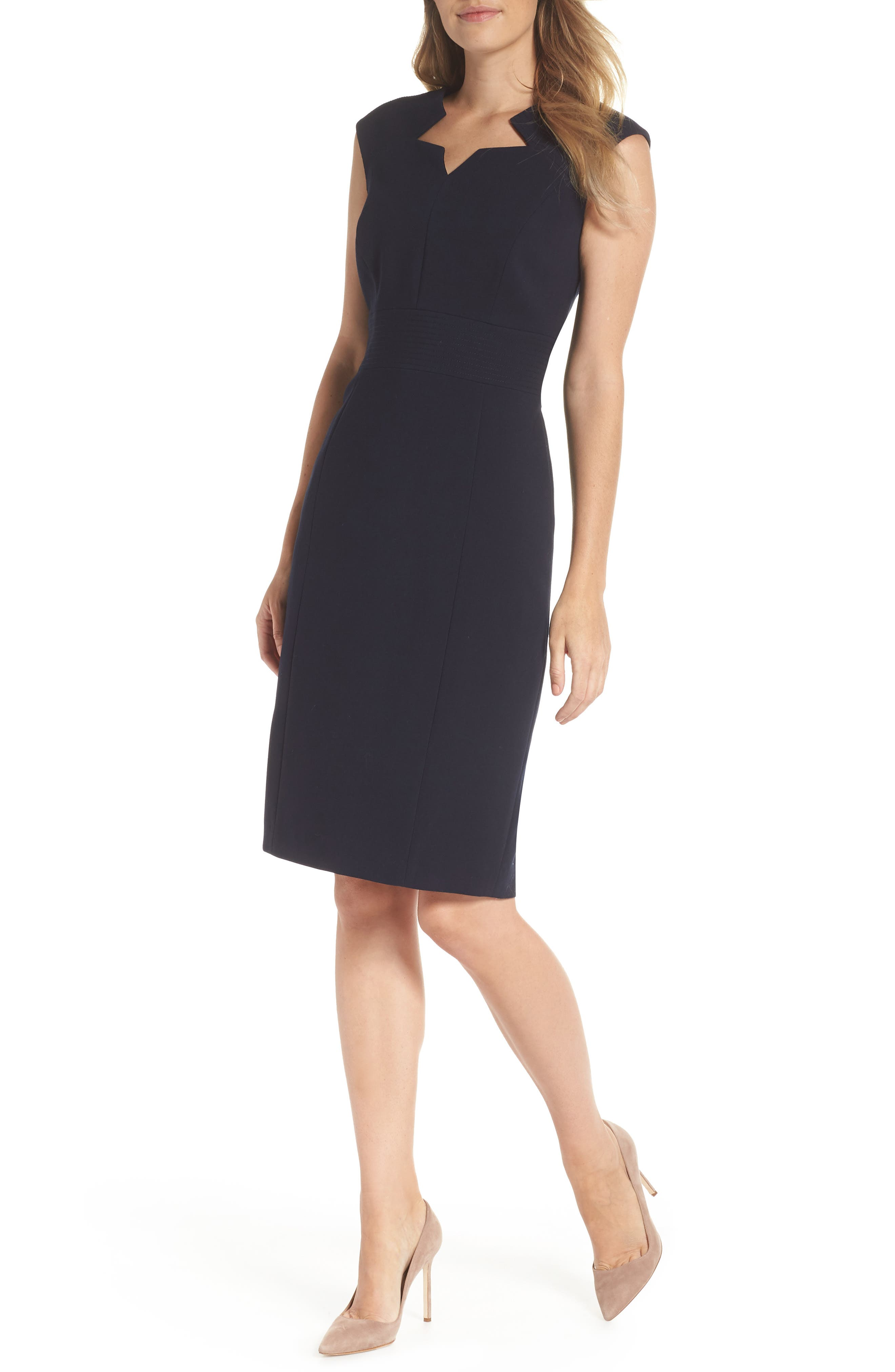 Star Neckline Crepe Sheath Dress,                             Main thumbnail 1, color,                             DARK NAVY