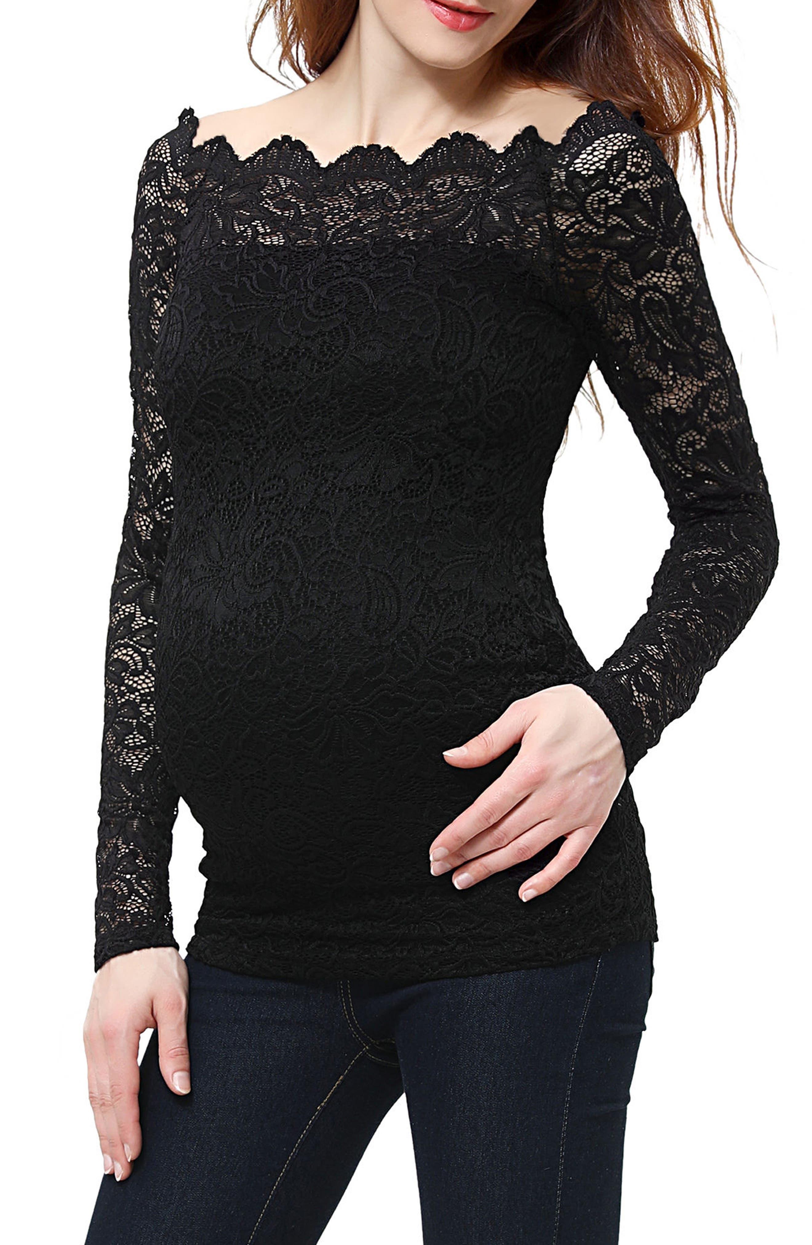 Lace Overlay Maternity Blouse,                             Alternate thumbnail 3, color,                             BLACK