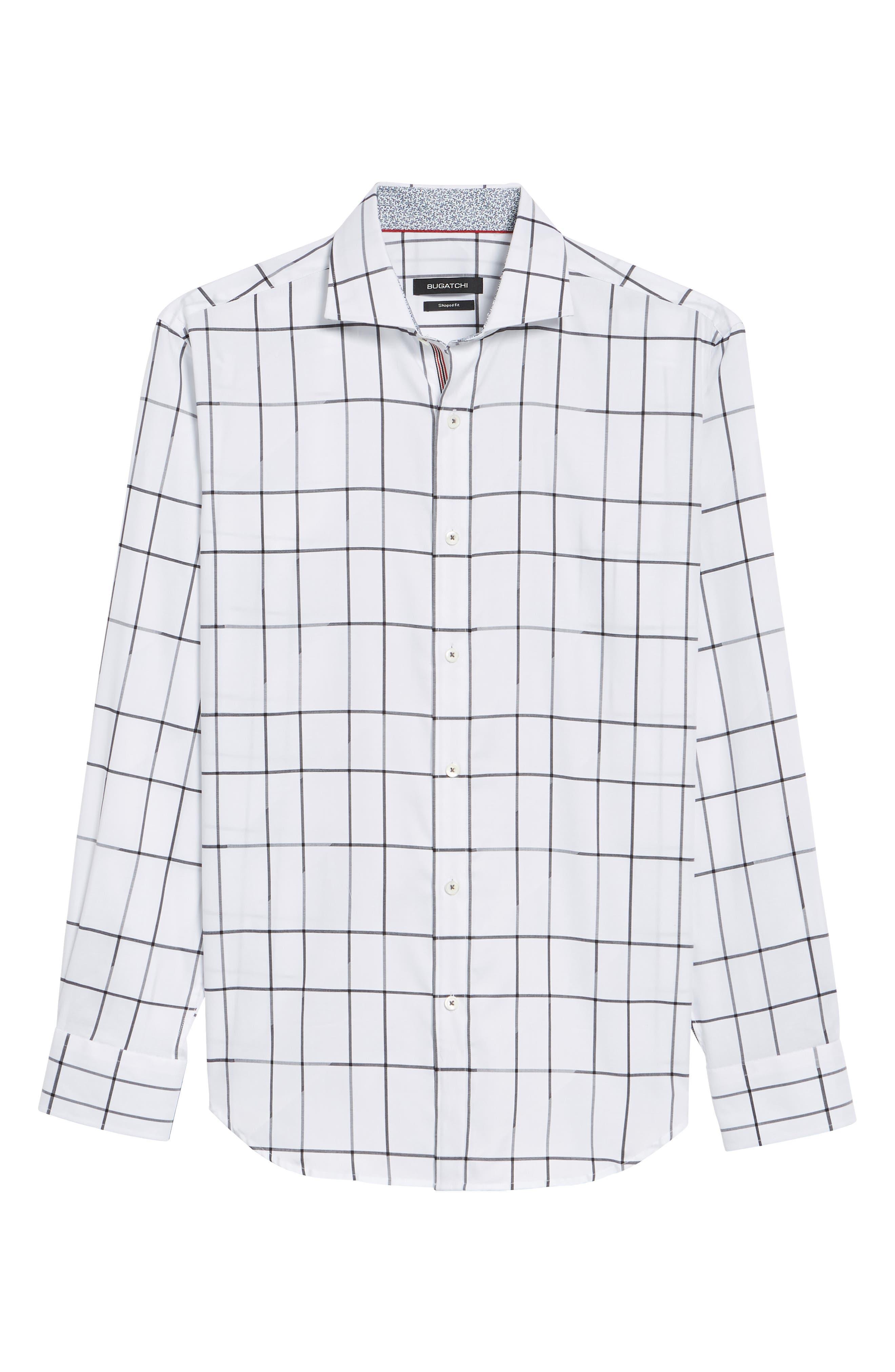 Shaped Fit Check Sport Shirt,                             Alternate thumbnail 6, color,                             100