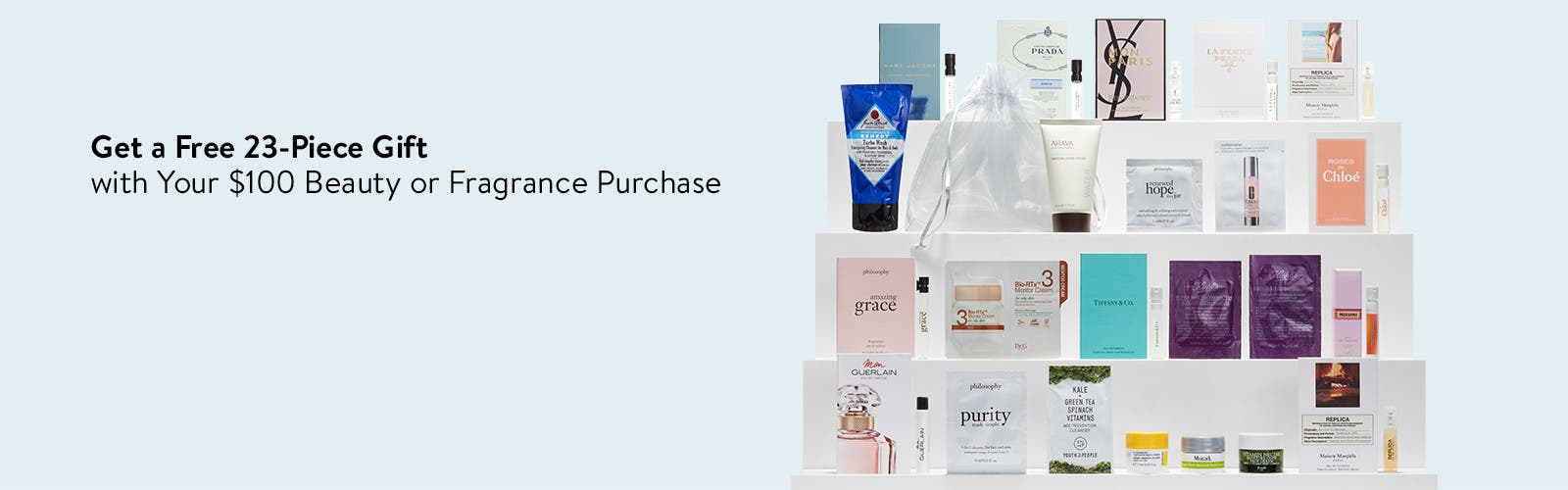 Get a free 23-piece gift with $100 beauty or fragrance.