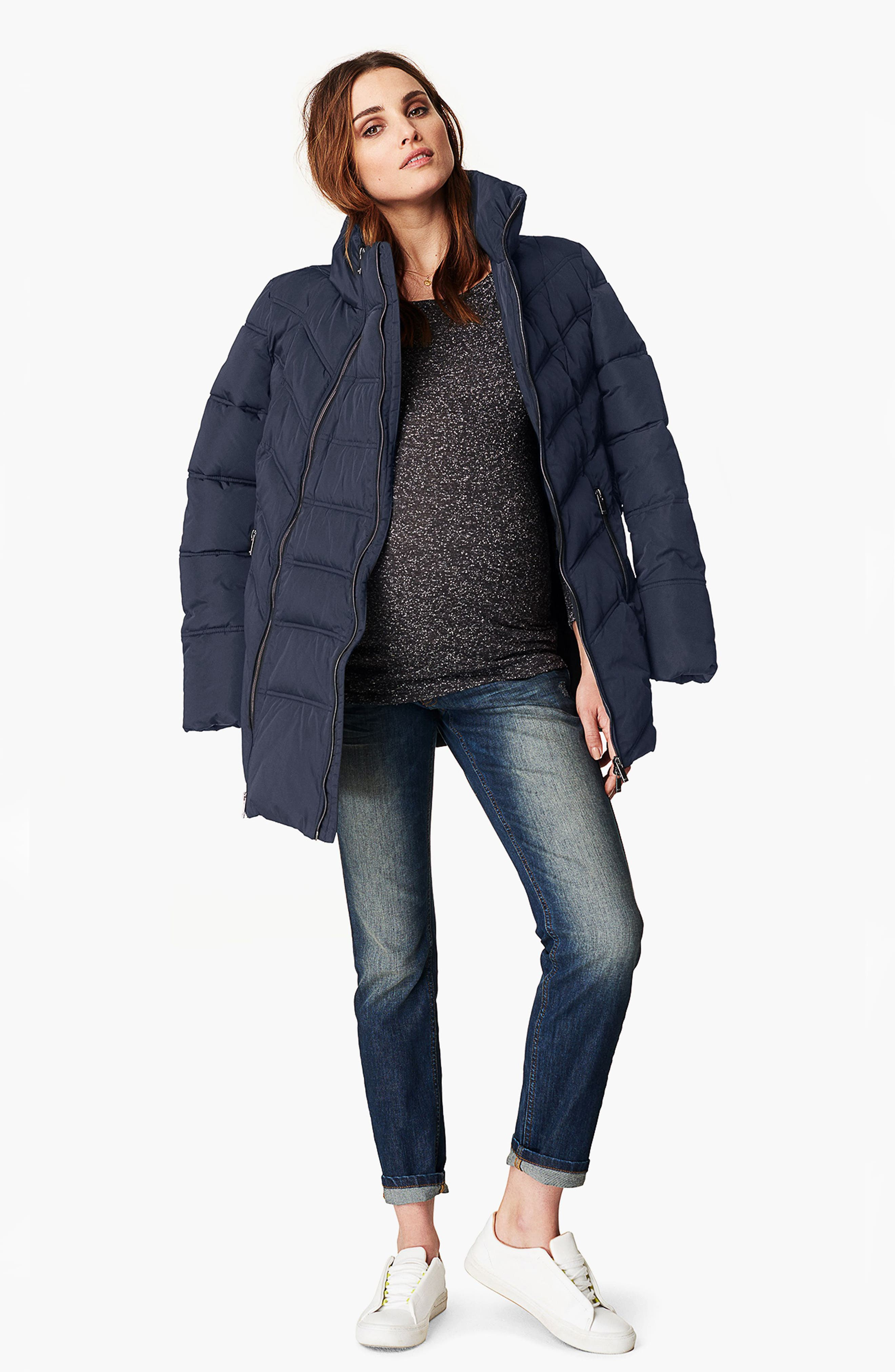 Lise Two-Way Quilted Maternity Jacket,                             Alternate thumbnail 2, color,                             DARK BLUE