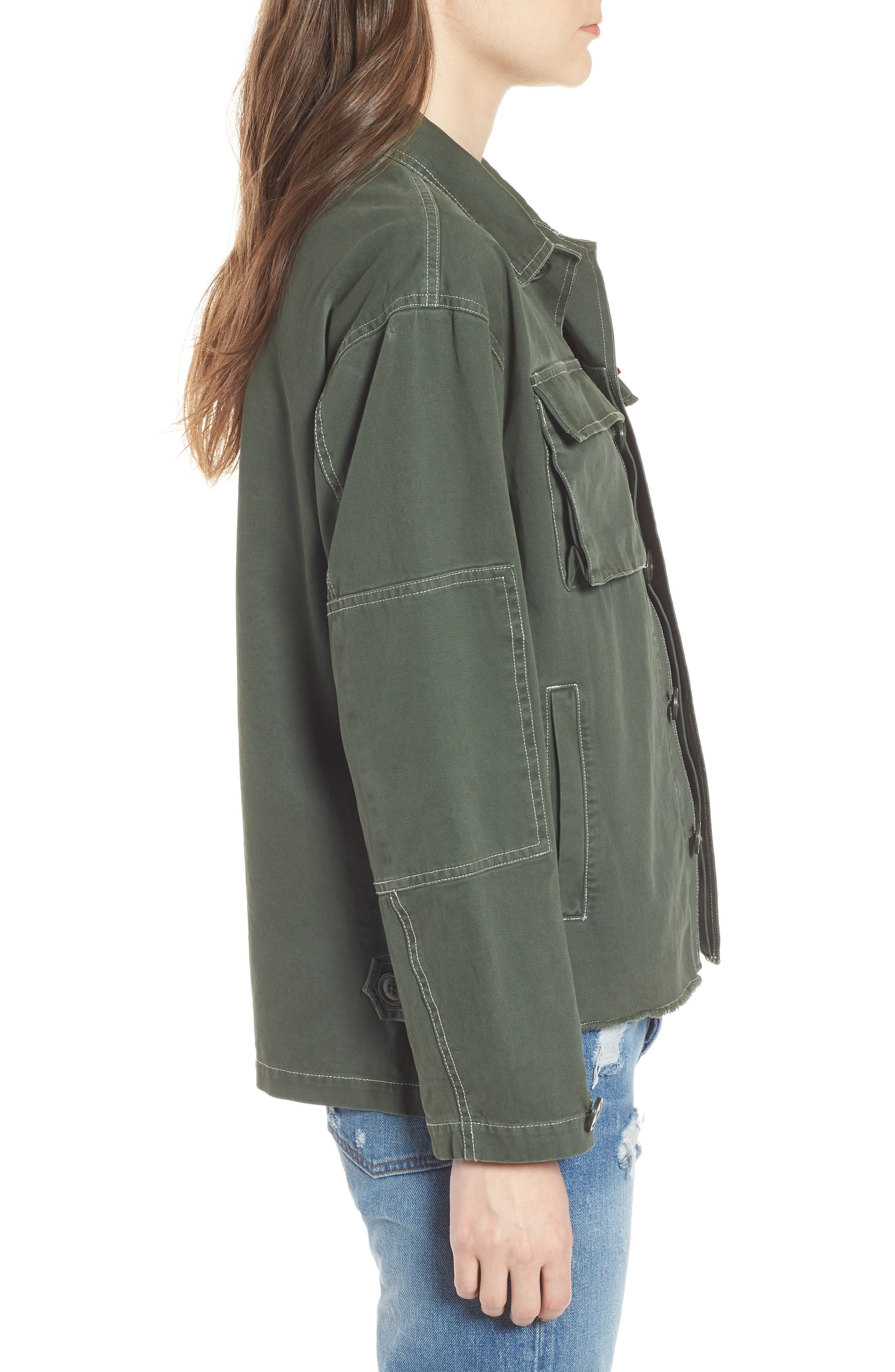 Cotton Shirt Jacket,                             Alternate thumbnail 3, color,                             OLIVE